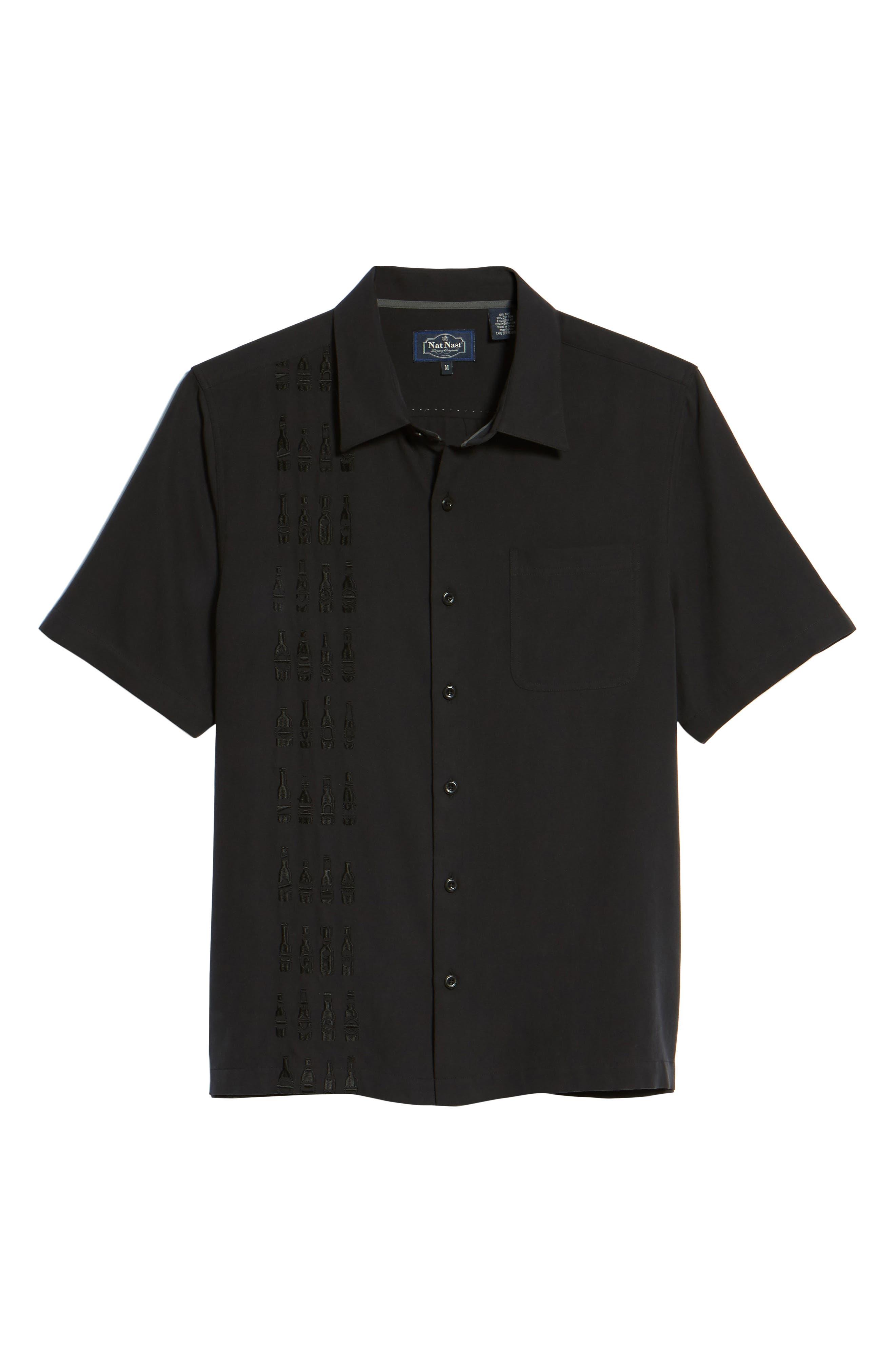 Summit Regular Fit Embroidered Silk Blend Sport Shirt,                             Alternate thumbnail 6, color,                             Black