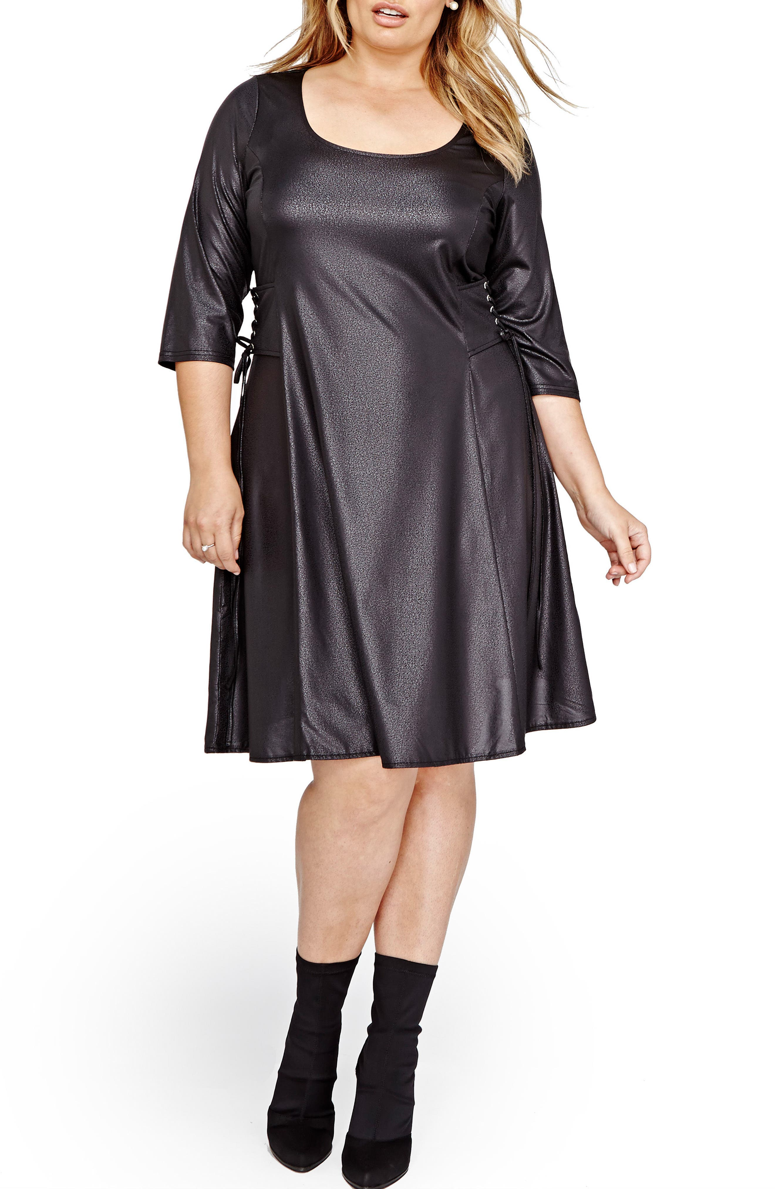 ADDITION ELLE LOVE AND LEGEND Lace-Up Swing Dress (Plus Size)