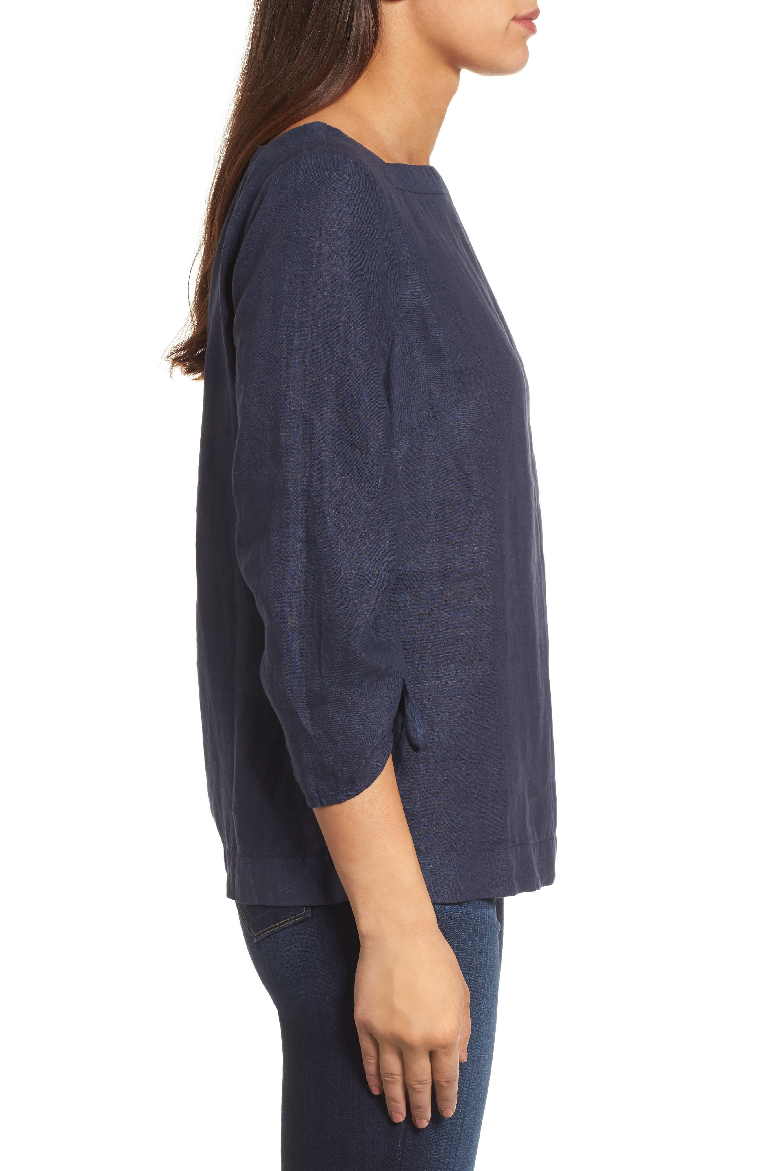 Ruched Sleeve Linen Pullover,                             Alternate thumbnail 3, color,                             Navy Peacoat