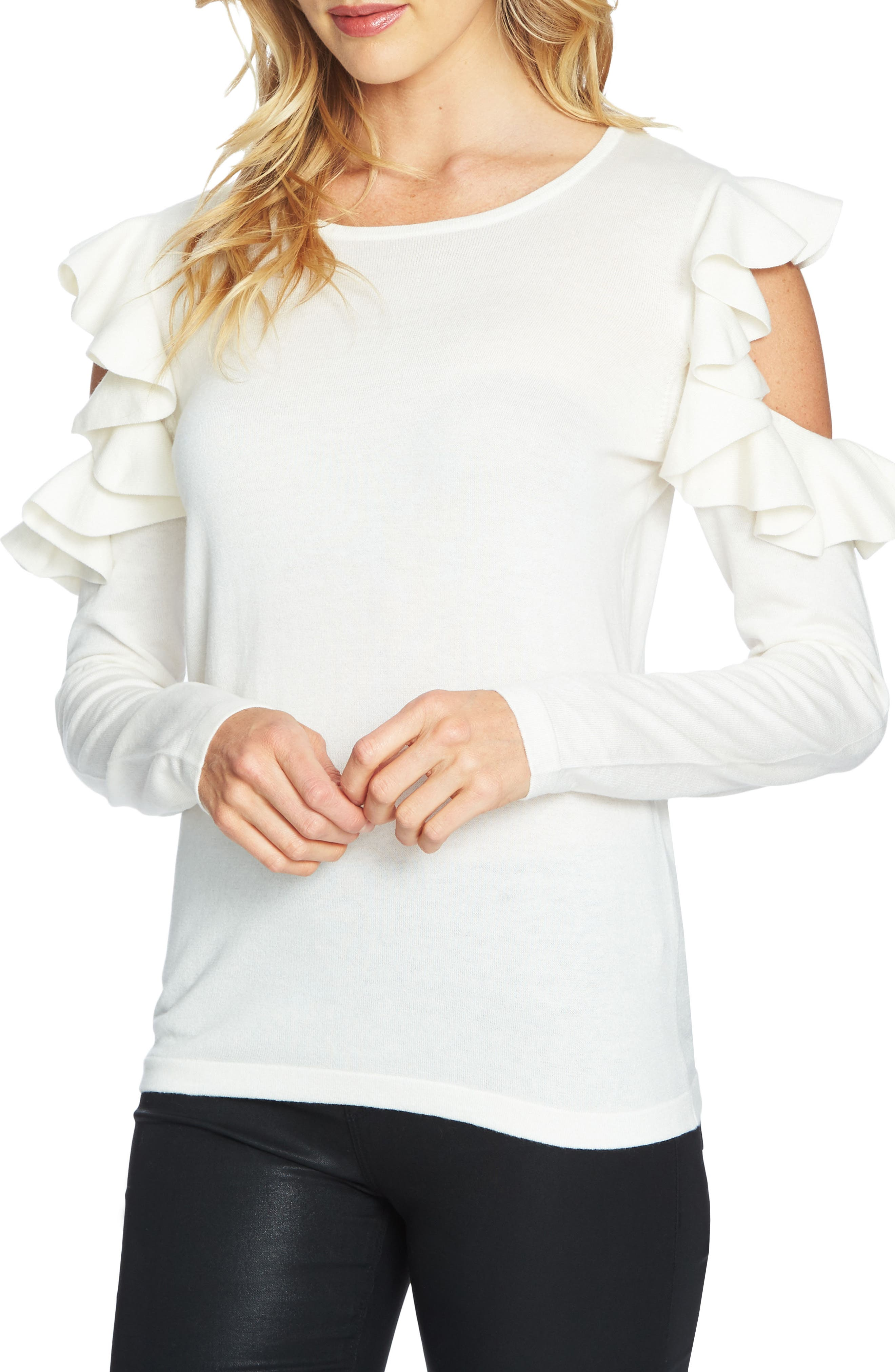 Alternate Image 1 Selected - CeCe Ruffled Cold Shoulder Sweater