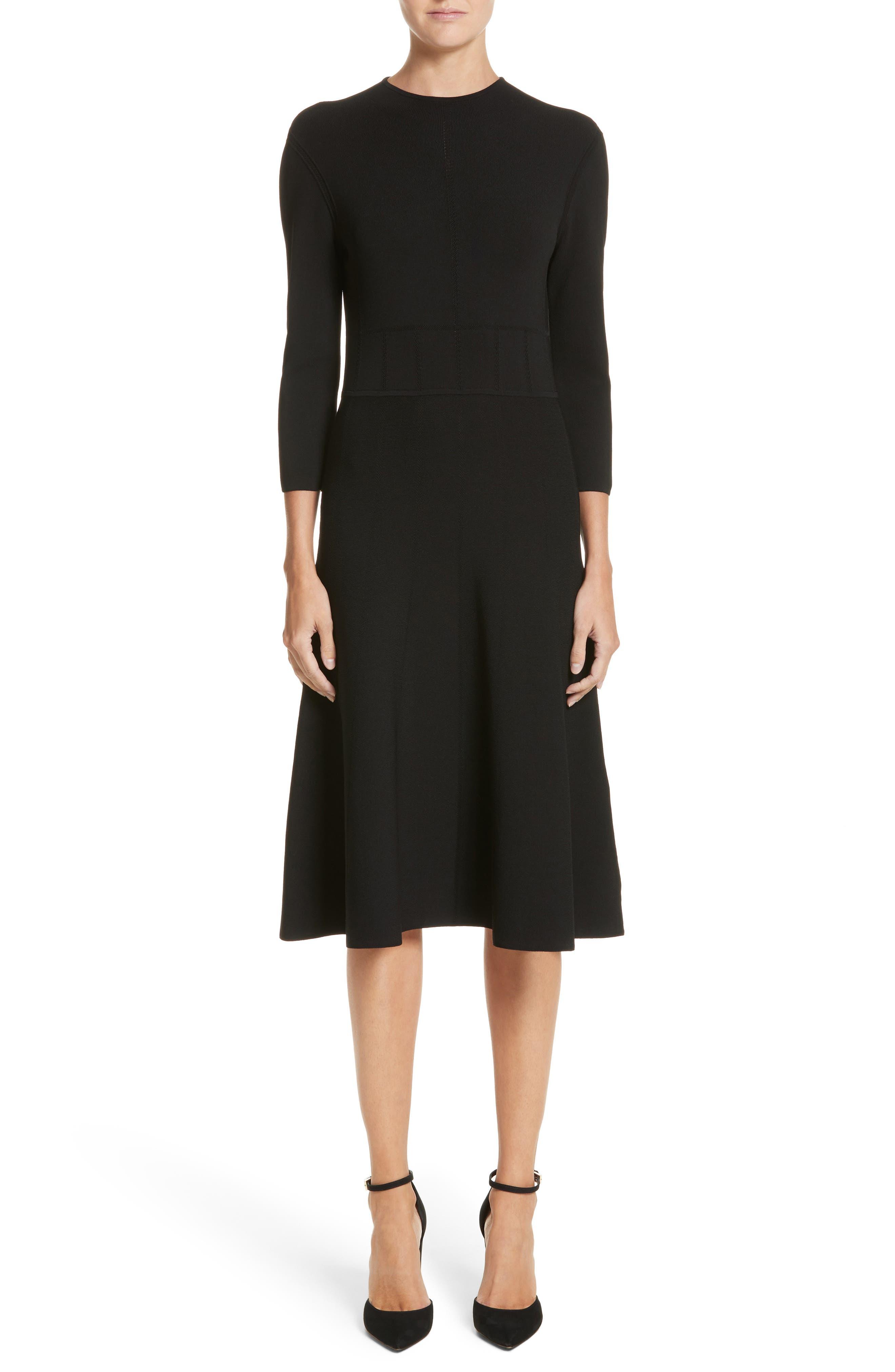High Neck Fit & Flare Dress,                             Main thumbnail 1, color,                             Black