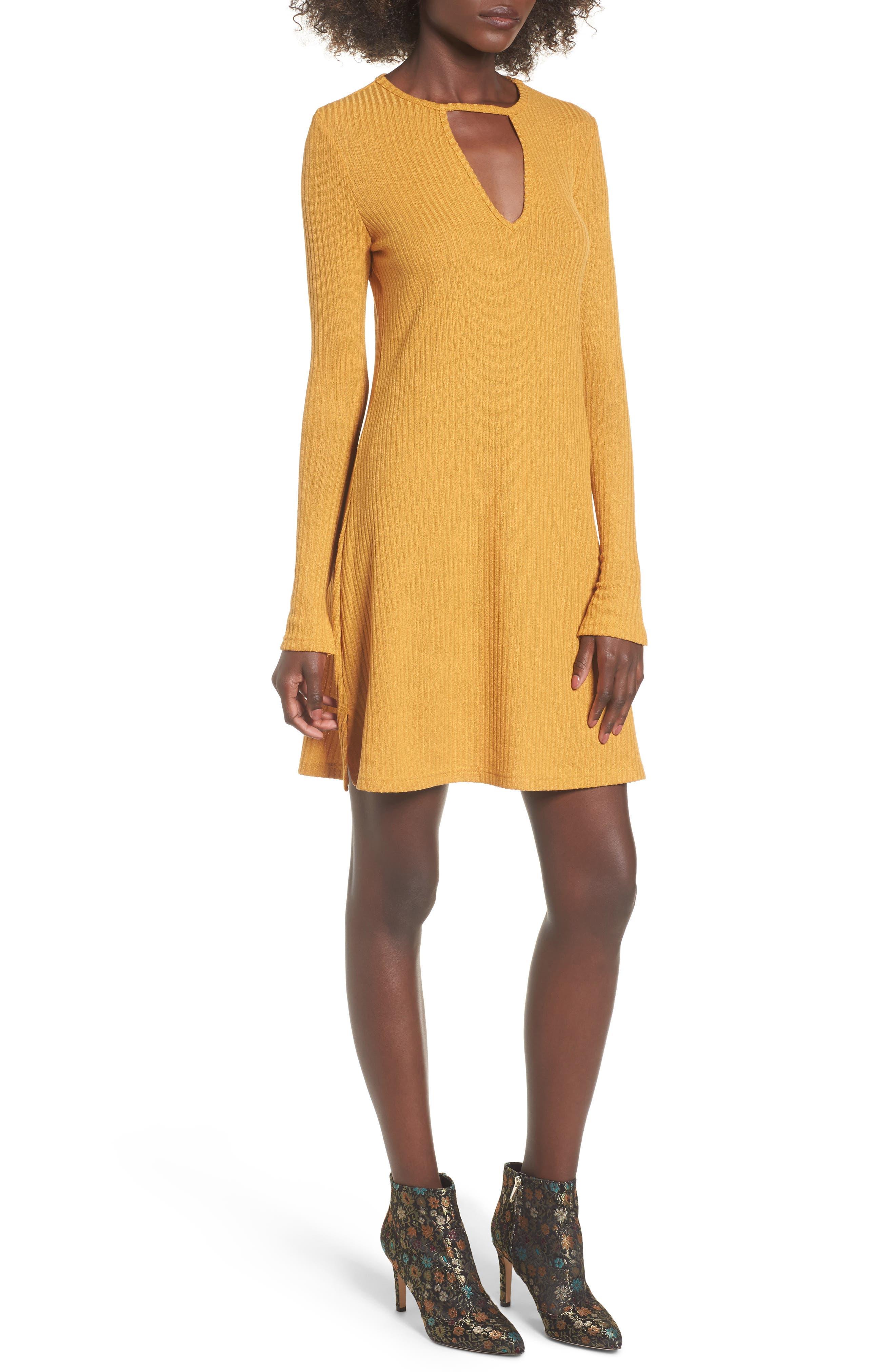 Maven Thermal Dress,                         Main,                         color, Mustard
