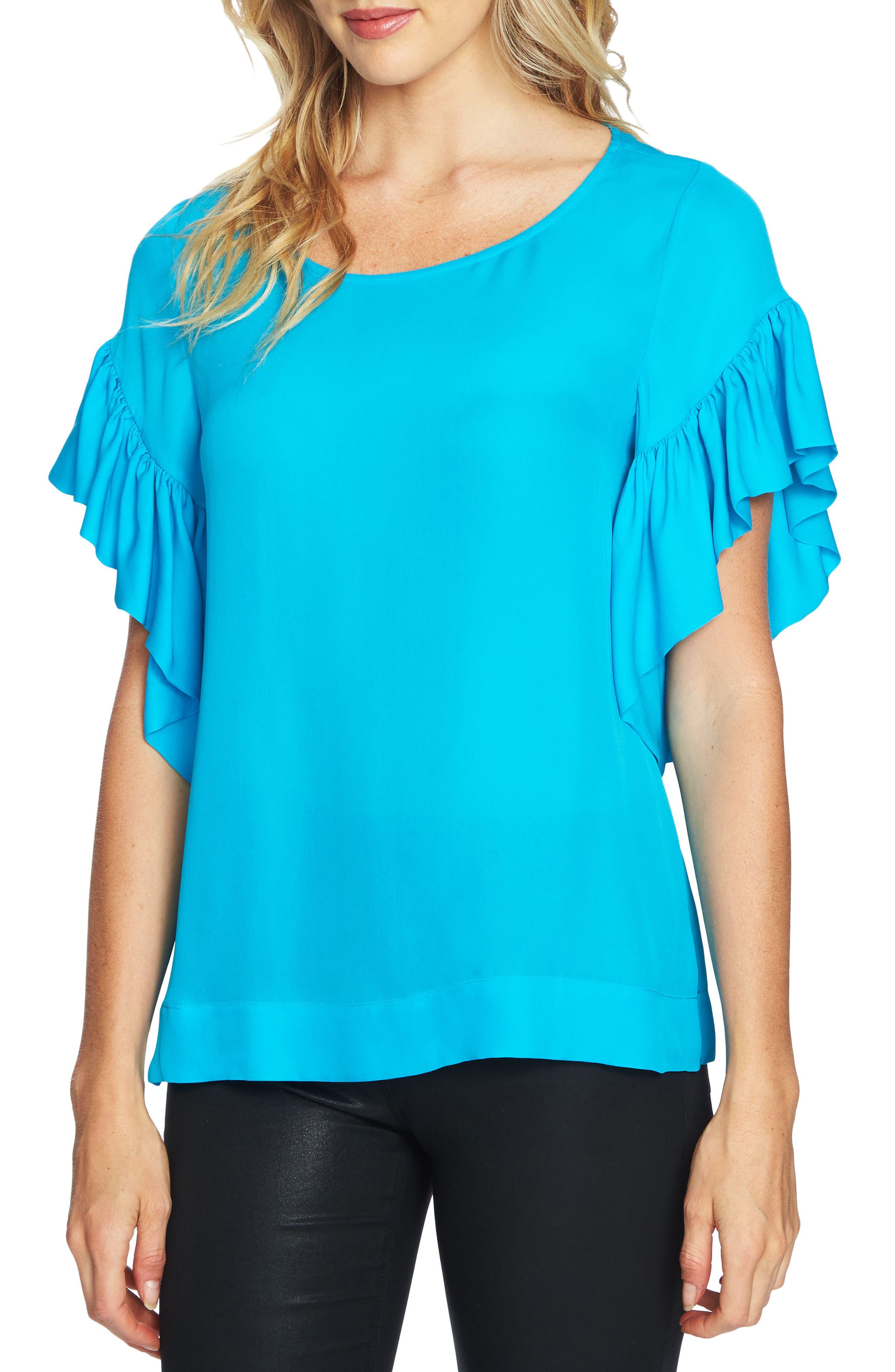 Flutter Sleeve Top,                         Main,                         color, Ocean Depths