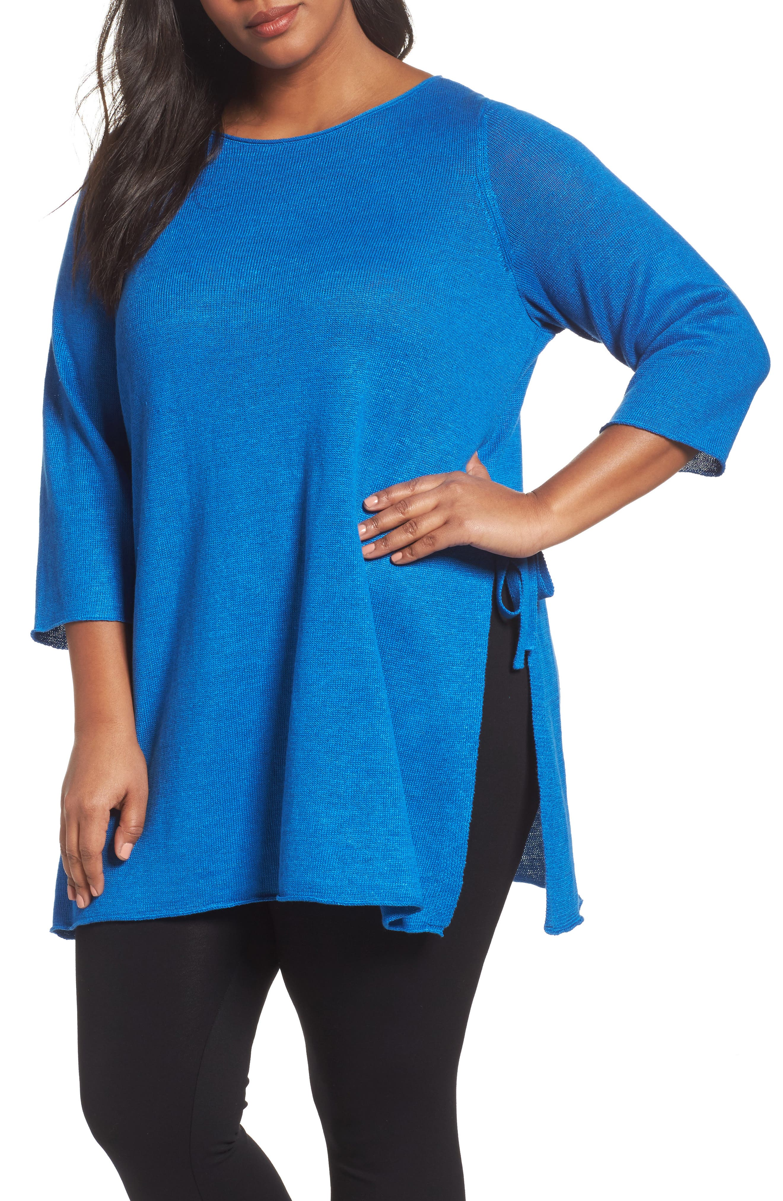 Eileen Fisher Side Tie Organic Linen Sweater (Plus Size)