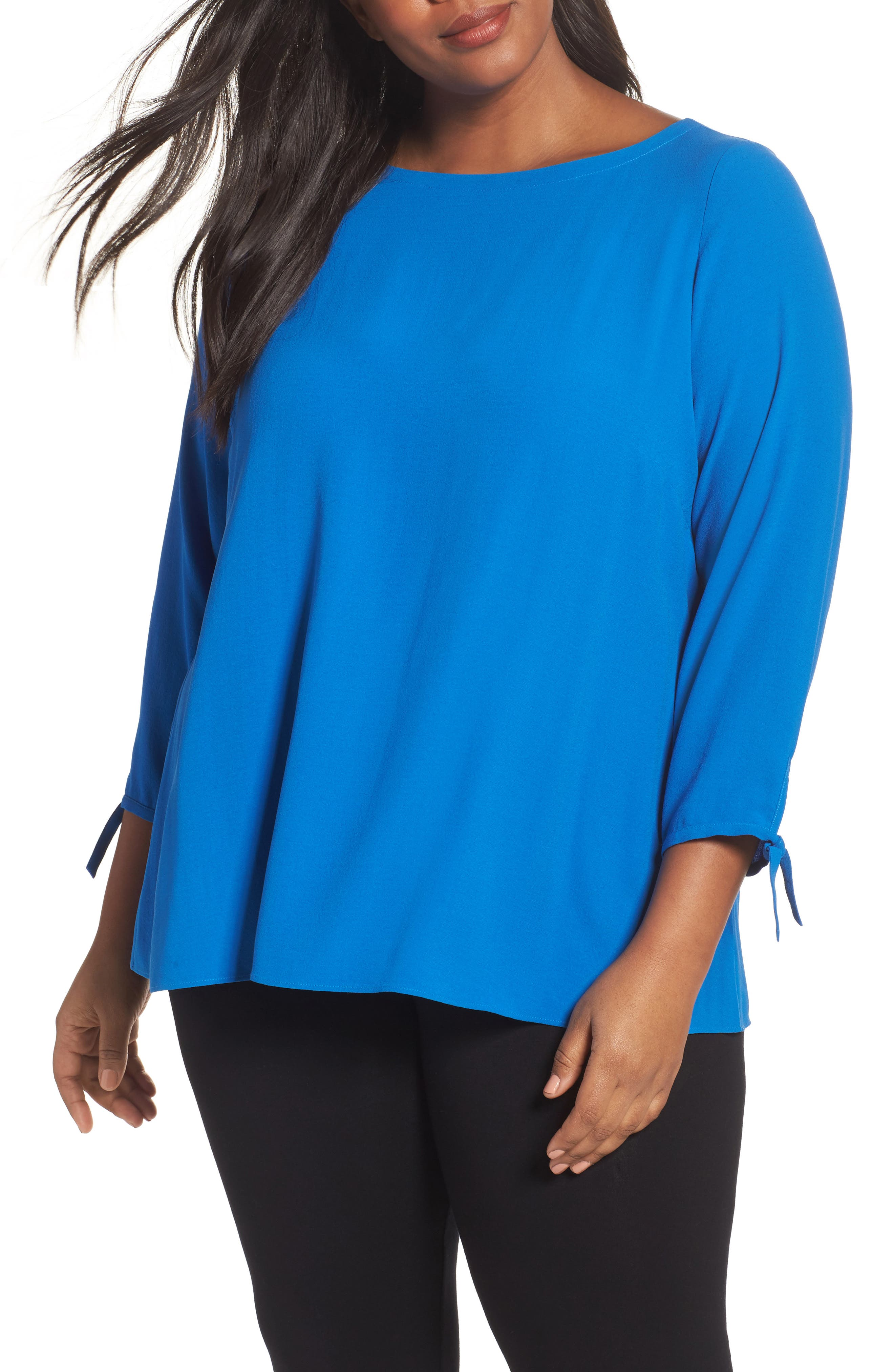 Eileen Fisher Silk Tie Sleeve Blouse (Plus Size)