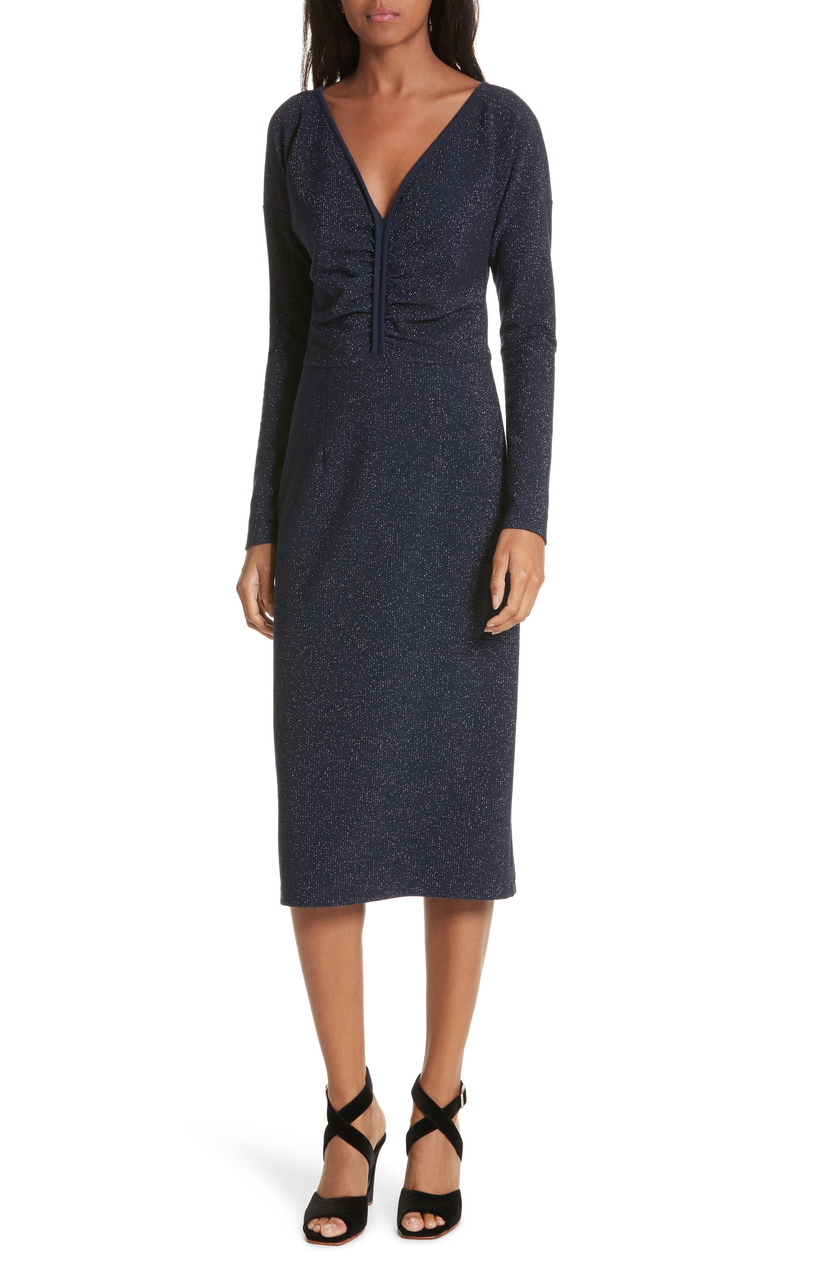 Temper Metallic Knit Dress,                             Main thumbnail 1, color,                             Navy