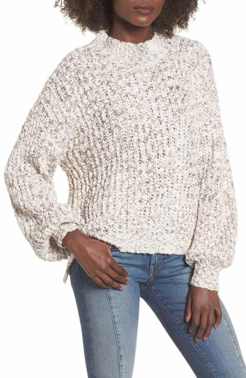 Woven Heart Chunky Knit Mock Neck Sweater