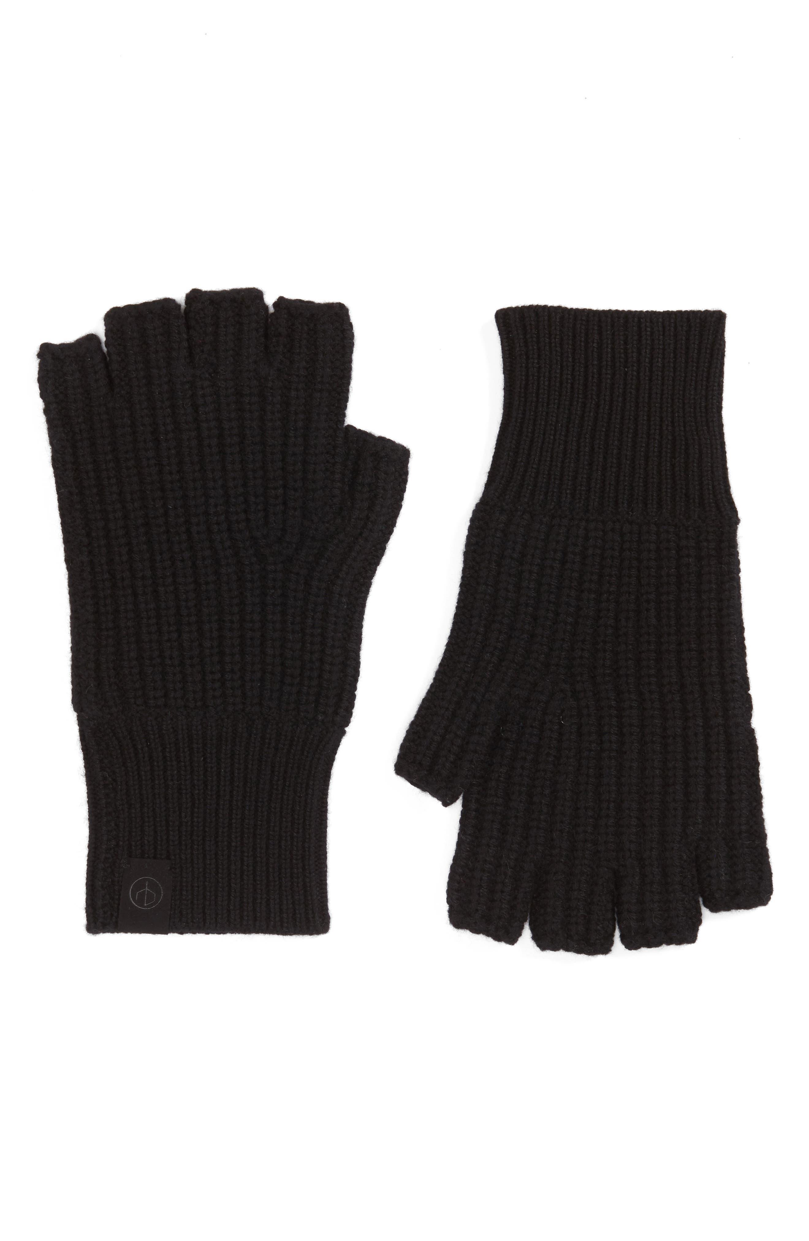 Ace Cashmere Knit Fingerless Gloves,                         Main,                         color, Black