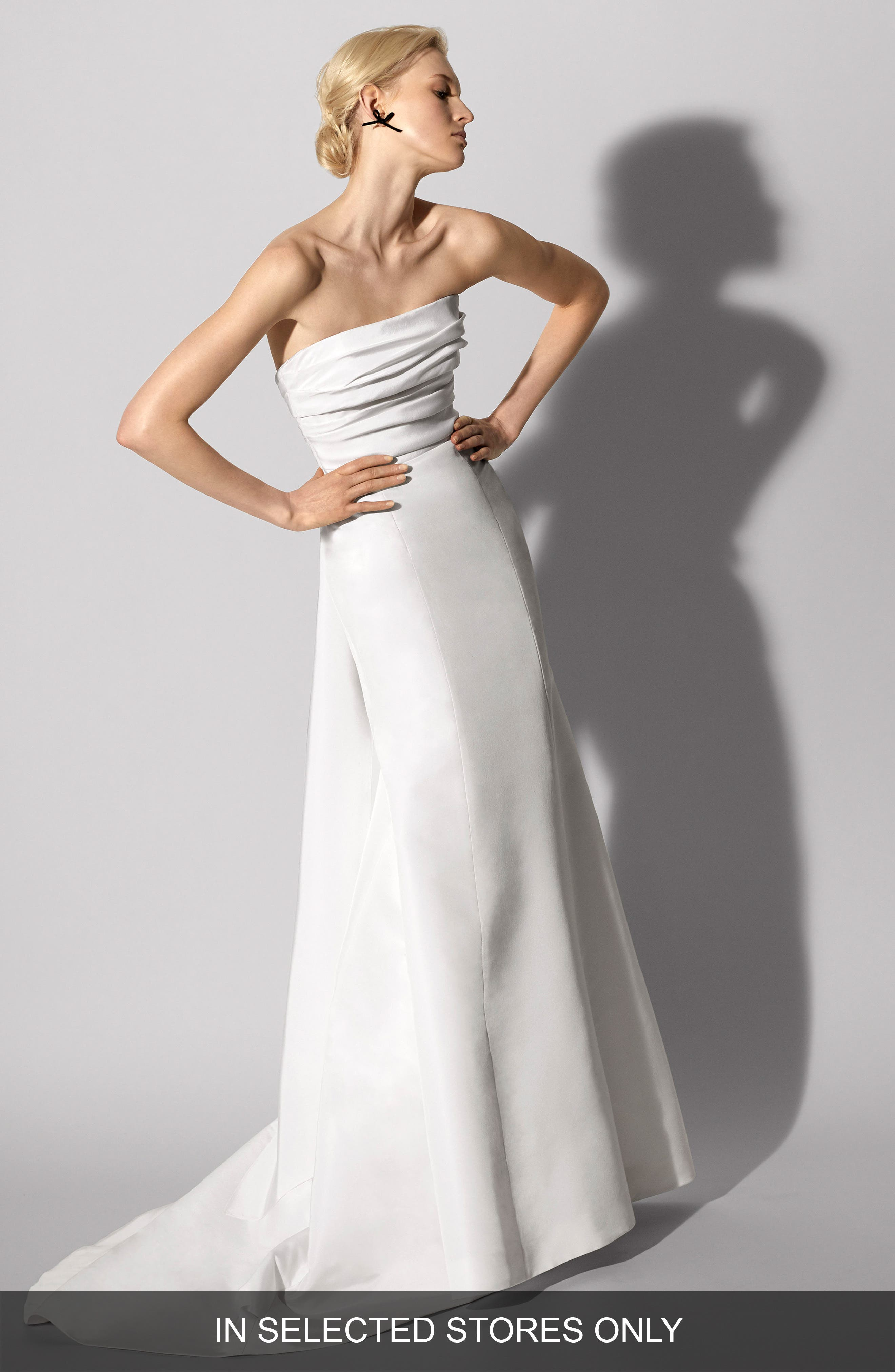 Florianne Strapless Silk Faille Trumpet Gown,                         Main,                         color, Ivory