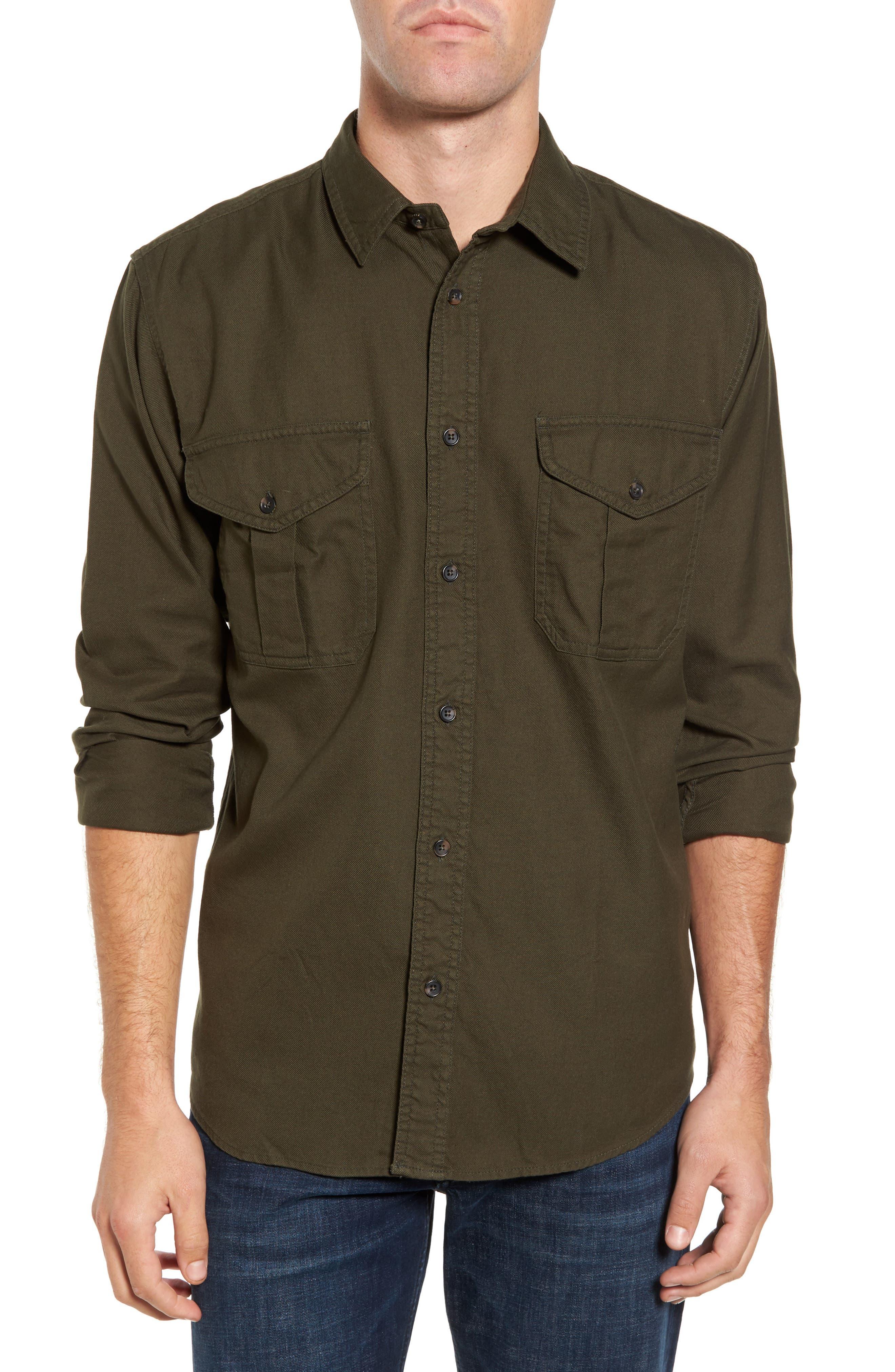 Alaskan Guide Regular Fit Twill Shirt,                             Main thumbnail 1, color,                             Brunswick Green