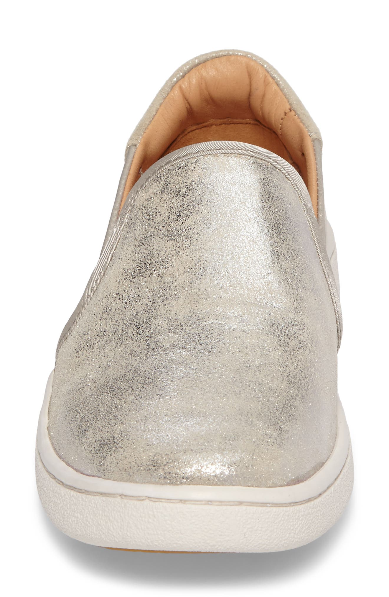 Cas Stardust Slip-On Sneaker,                             Alternate thumbnail 4, color,                             Silver Leather