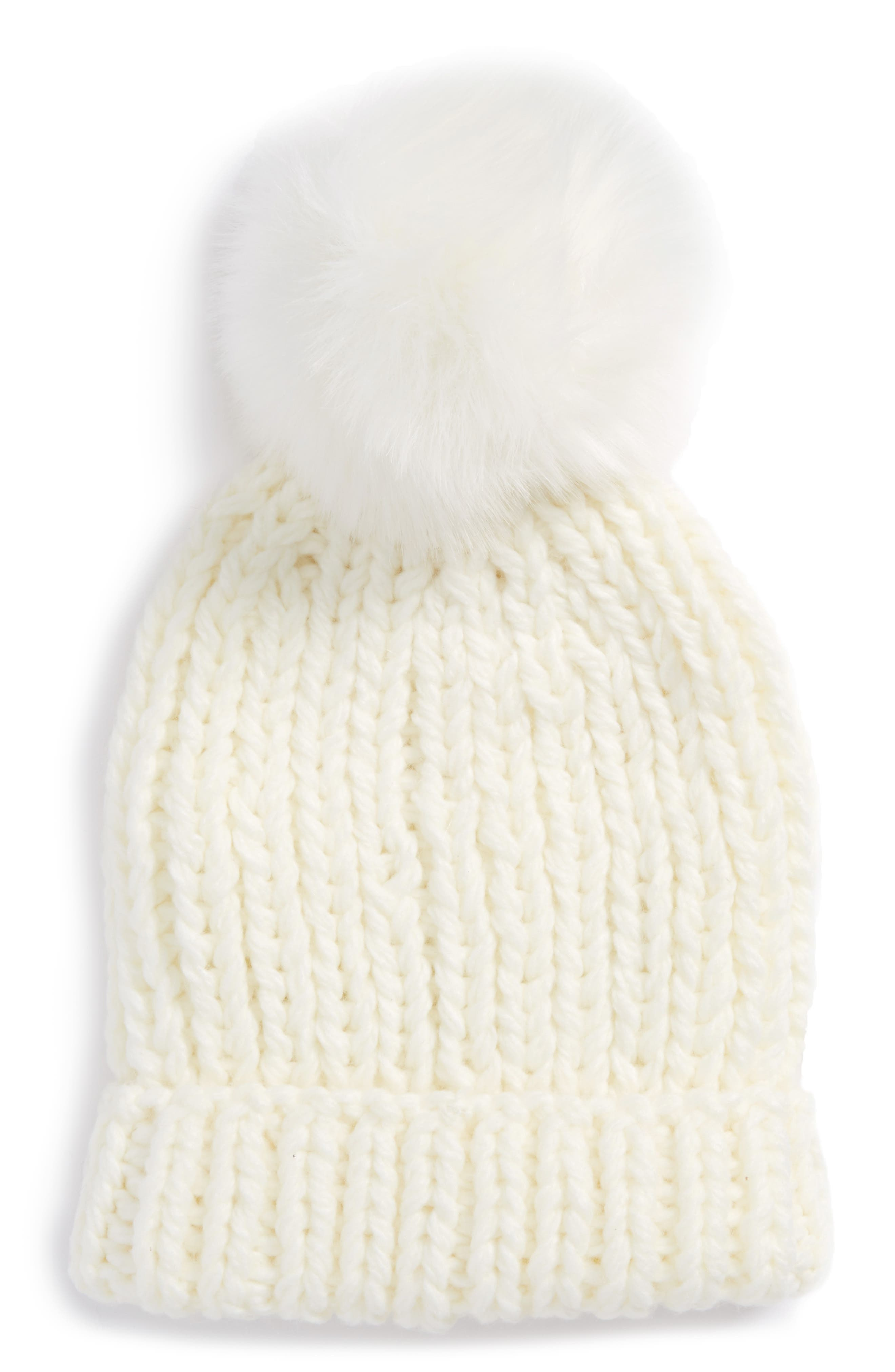 Happy Trails Faux Fur Pom Beanie,                         Main,                         color, Ivory