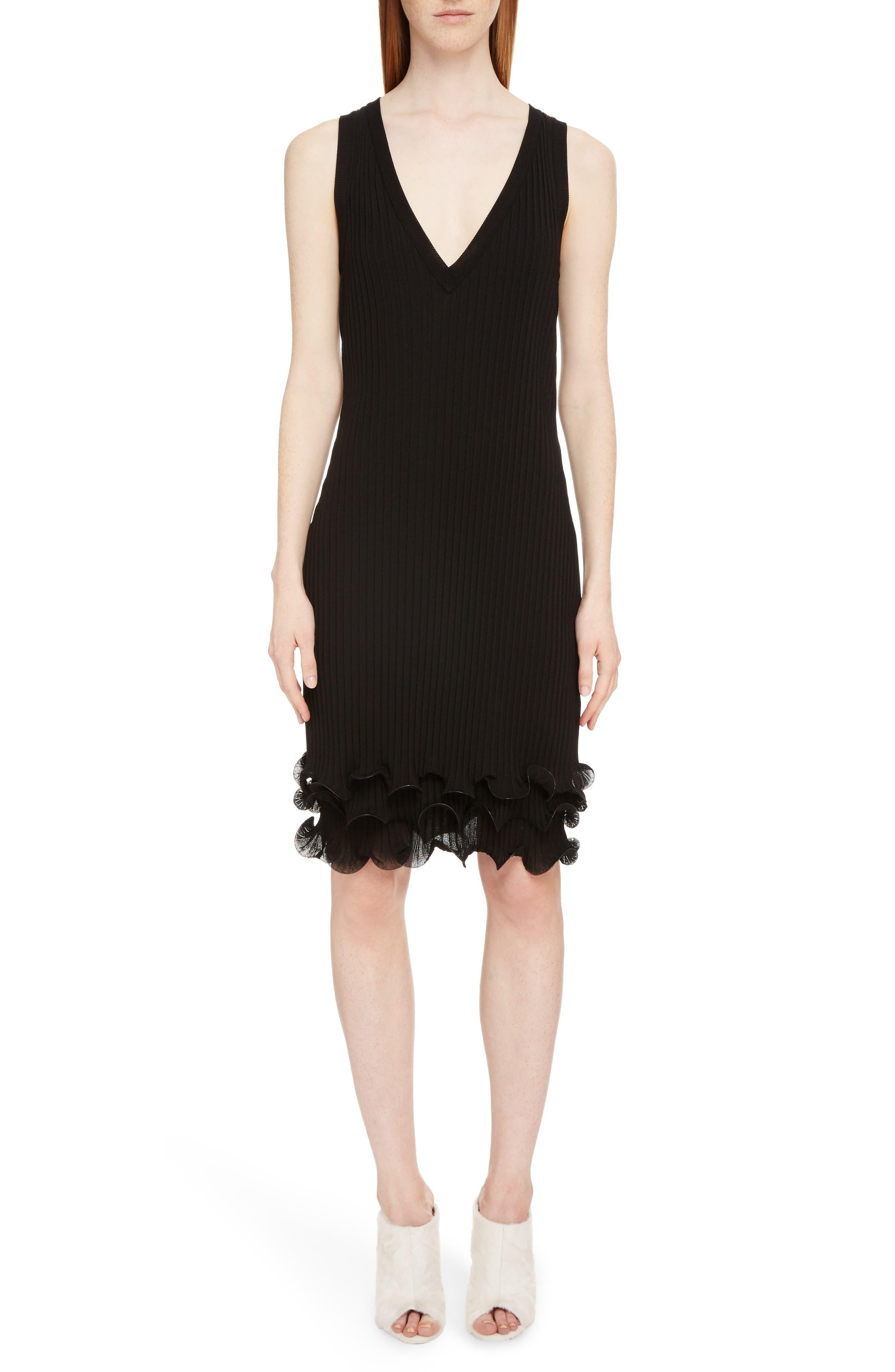 Ribbed Ruffle Hem Dress,                             Main thumbnail 1, color,                             Black