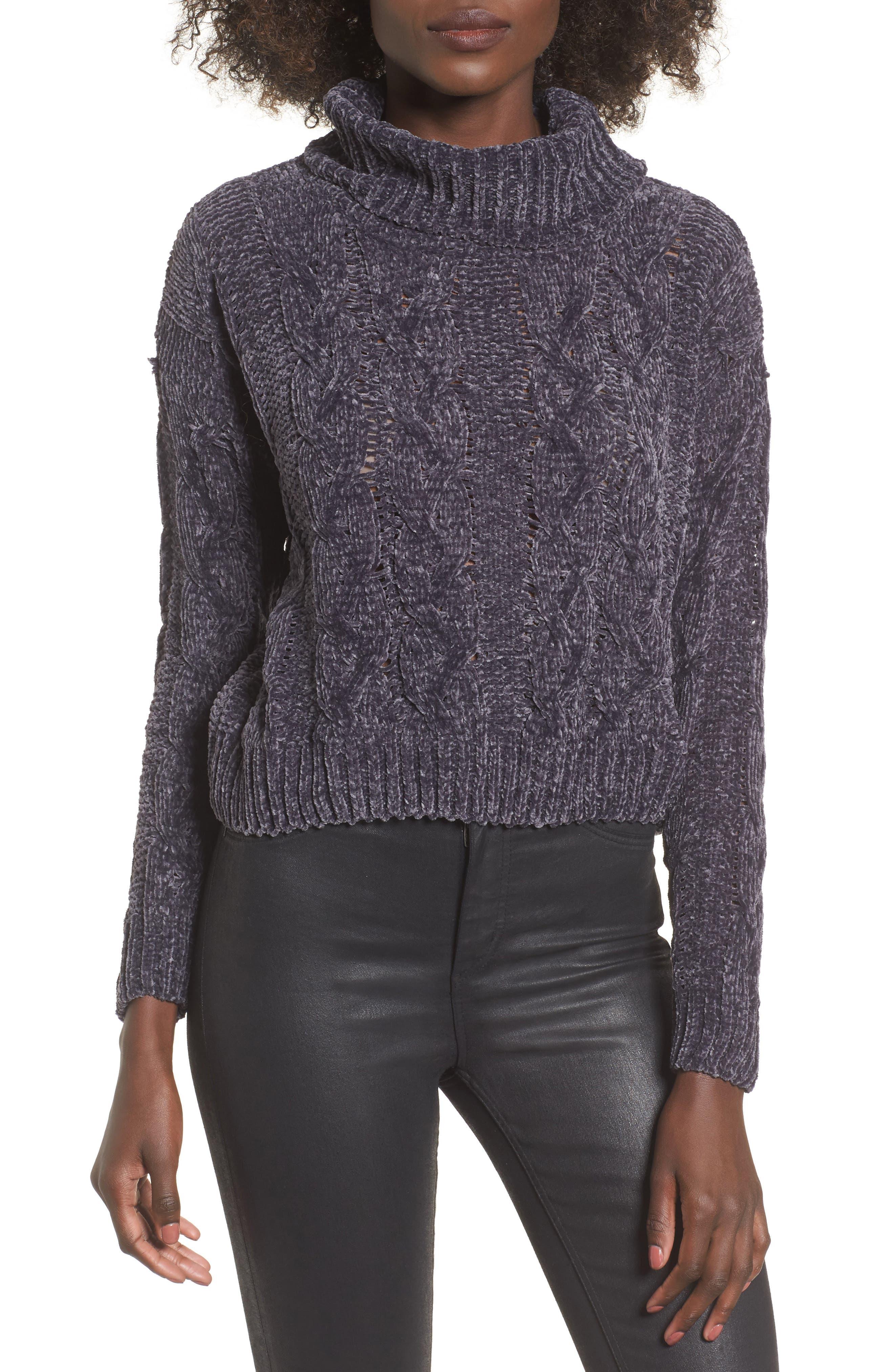 Main Image - Woven Heart Chenille Turtleneck Sweater