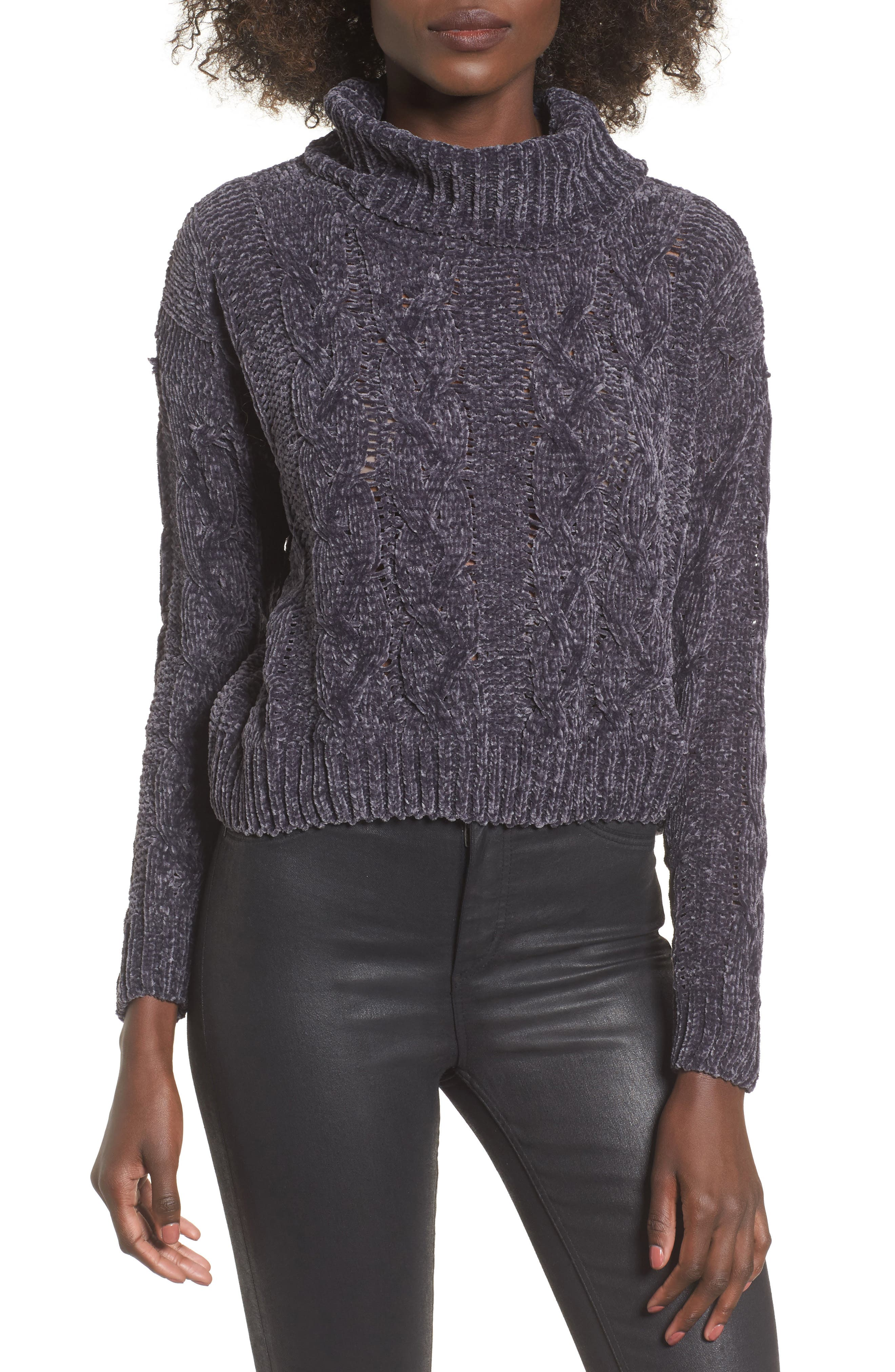 Chenille Turtleneck Sweater,                         Main,                         color, Pewter