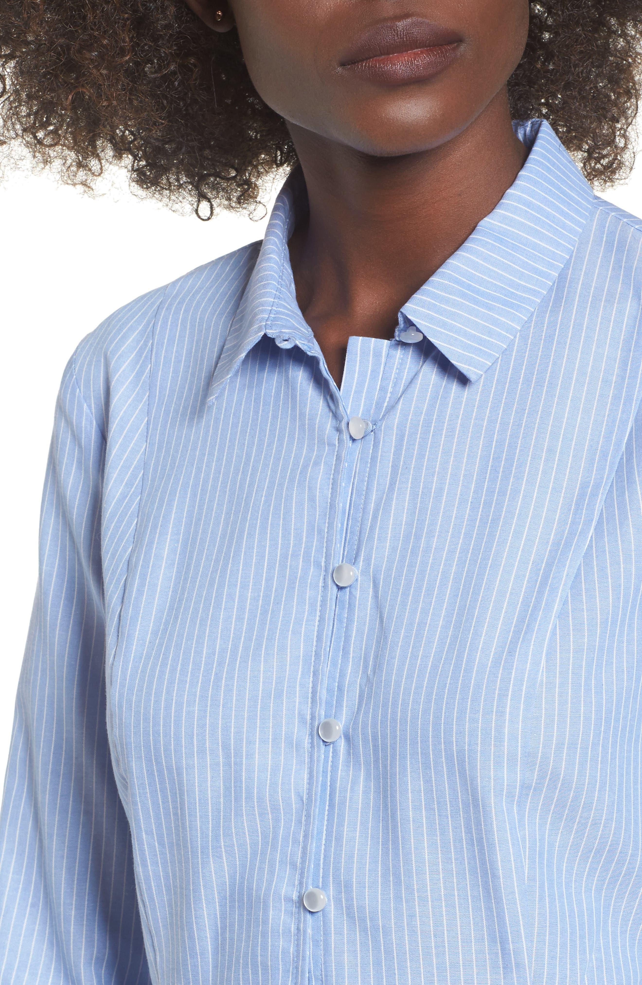 Stripe Peplum Shirt,                             Alternate thumbnail 4, color,                             Blue/ White