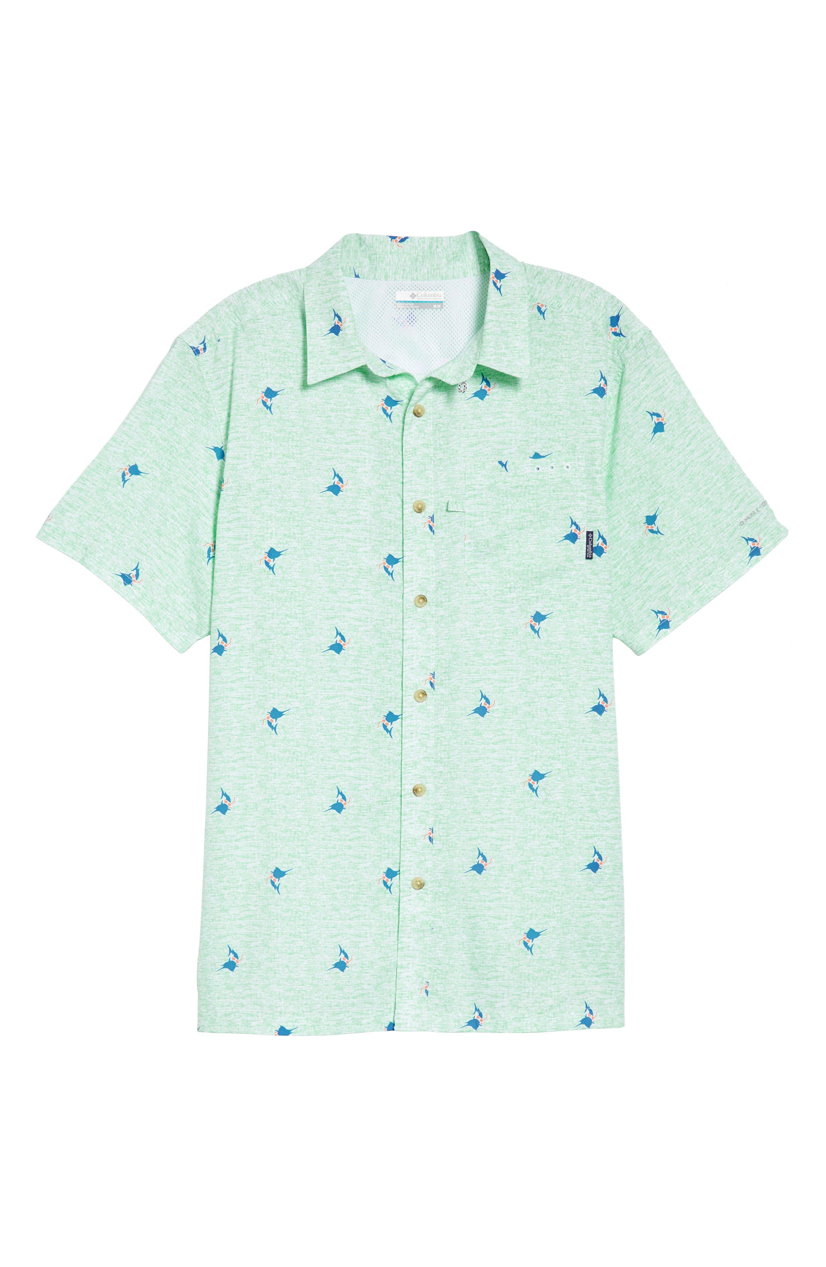 Super Slack Tide Patterned Woven Shirt,                             Alternate thumbnail 6, color,                             Kelp Marlin Print