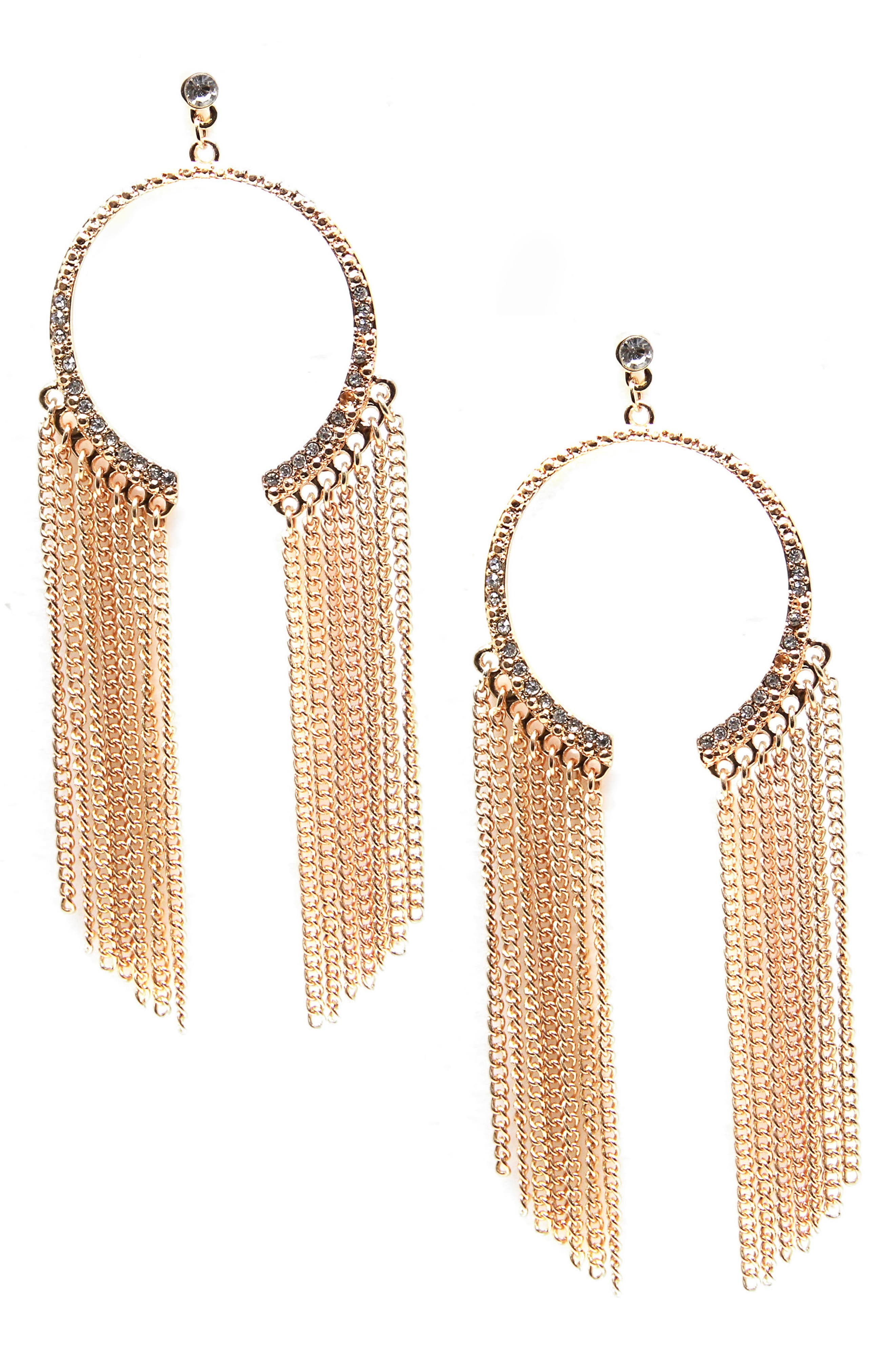 Chain & Crystal Hoop Earrings,                             Main thumbnail 1, color,                             Gold