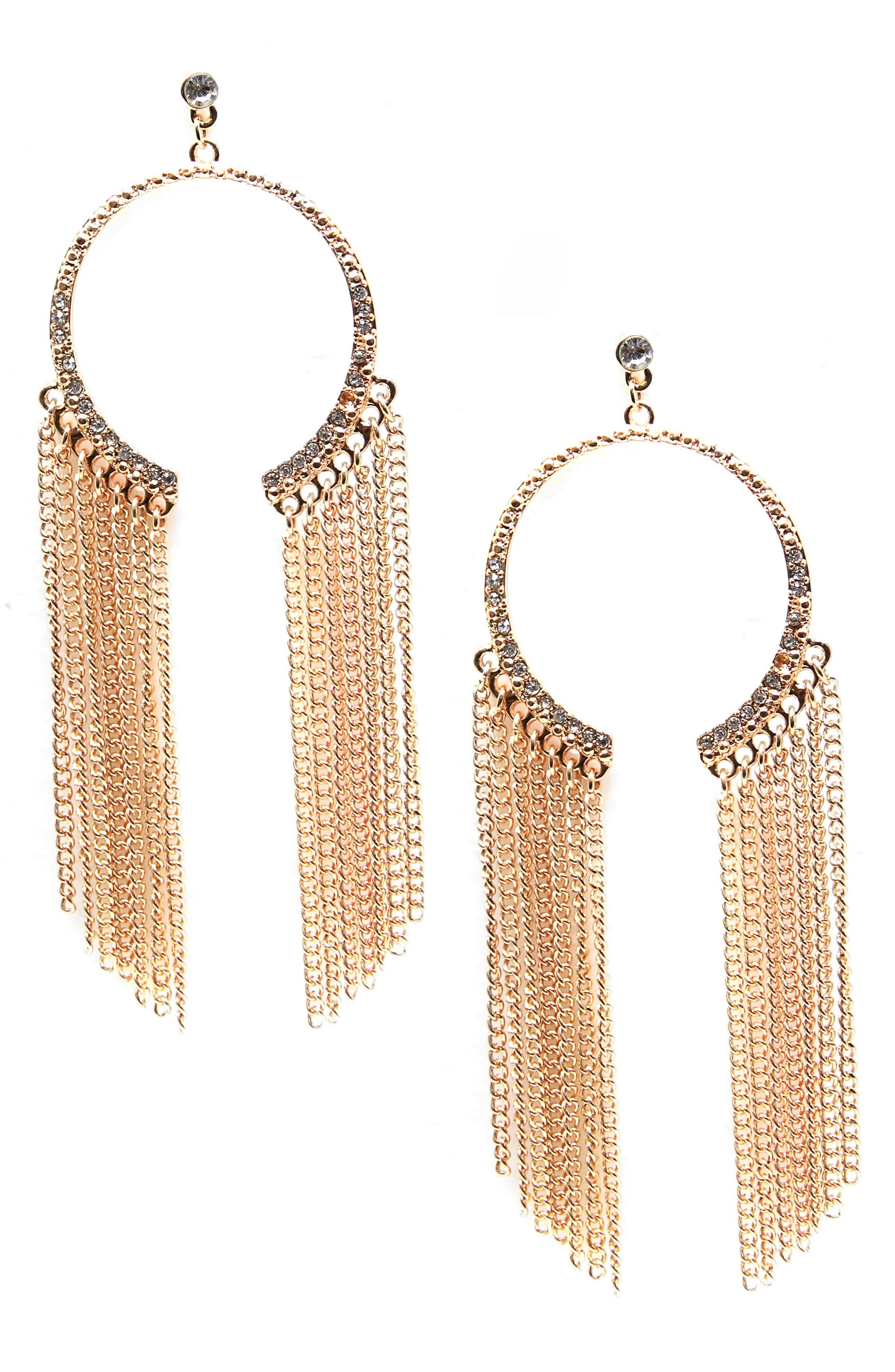 Chain & Crystal Hoop Earrings,                         Main,                         color, Gold