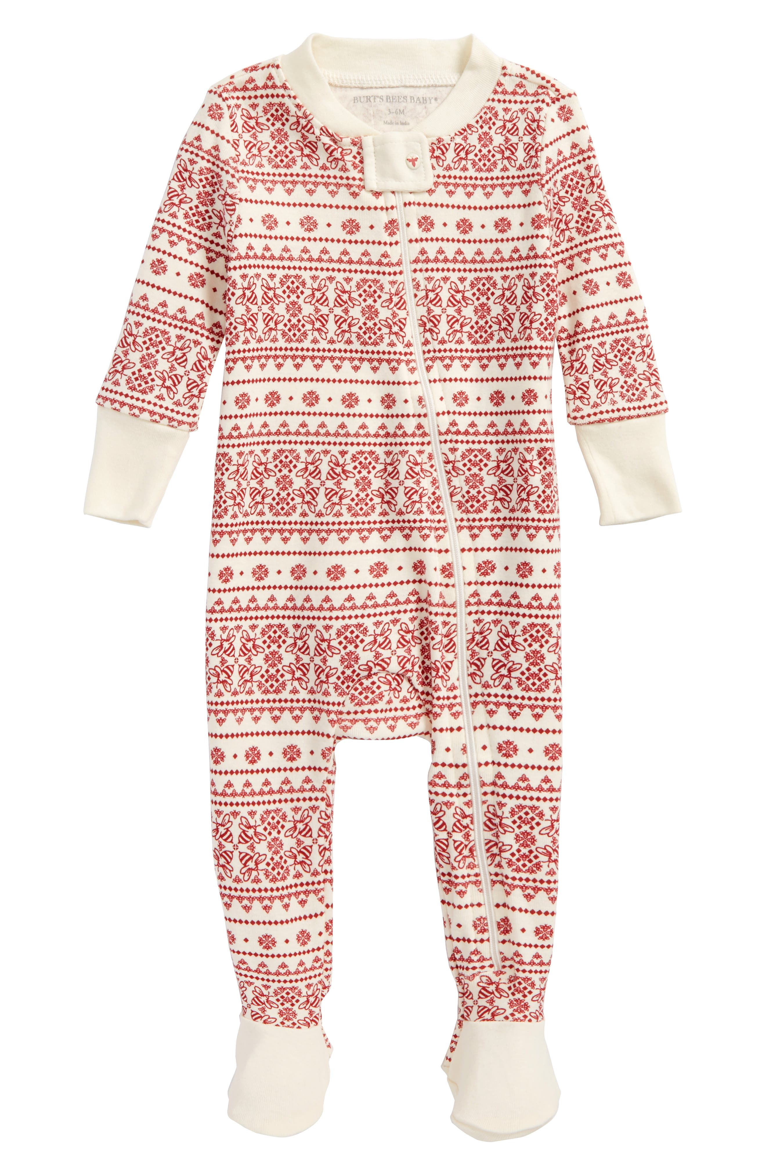 Fair Isle Fitted One-Piece Footed Pajamas,                         Main,                         color, Ivory
