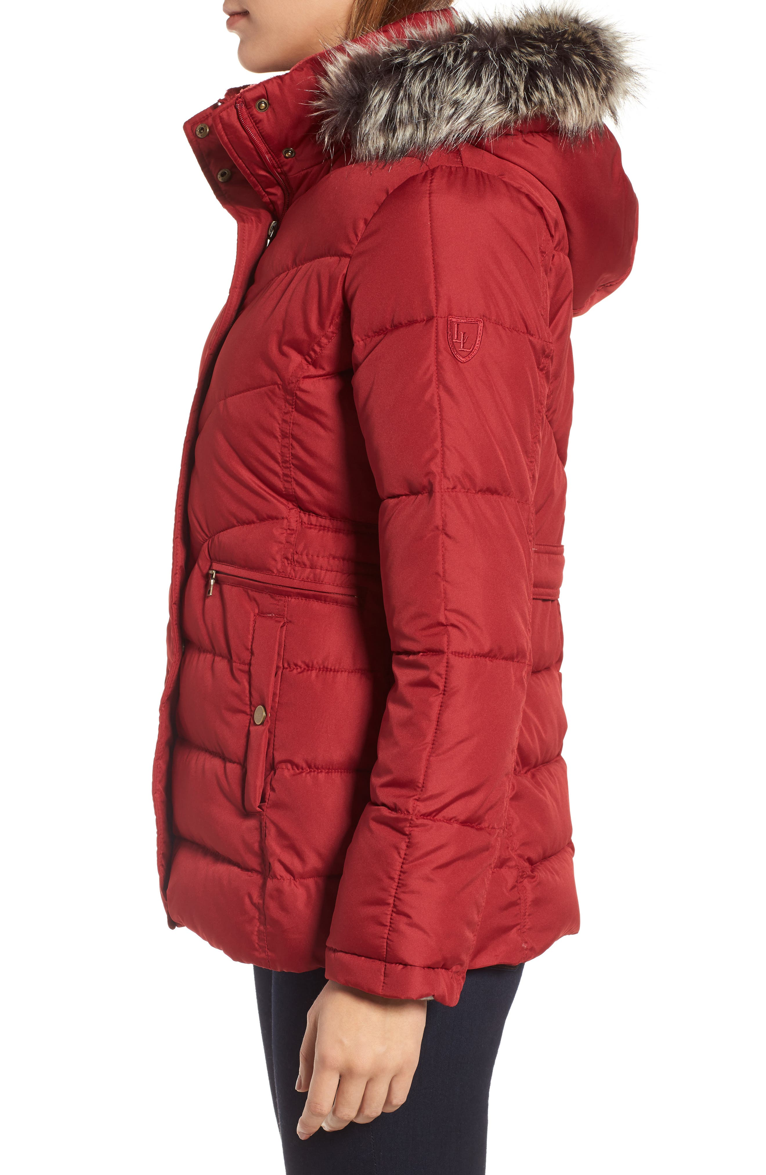 Quilted Coat with Faux Fur Trim,                             Alternate thumbnail 3, color,                             Brick