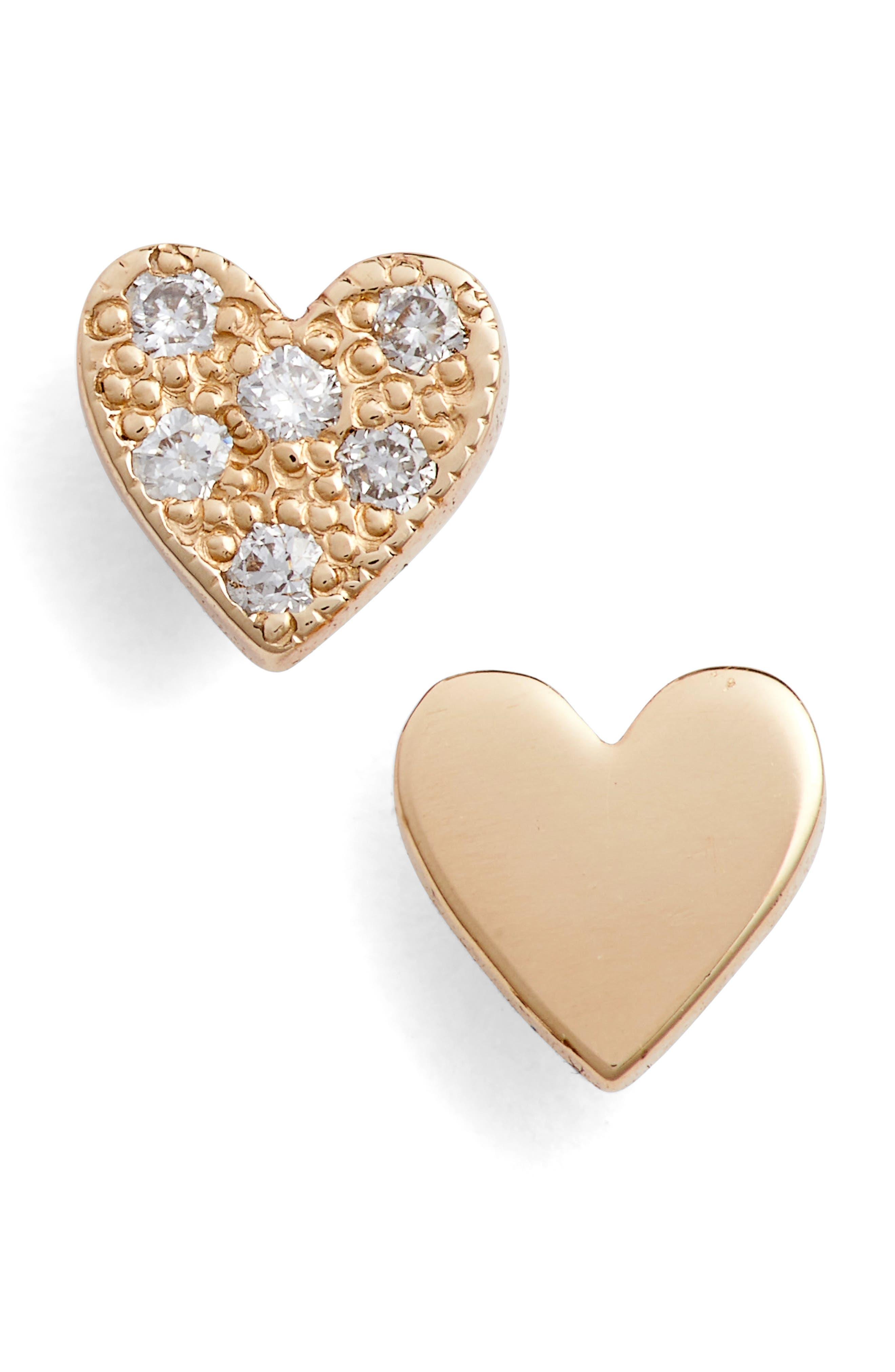 Main Image - Zoë Chicco Pavé Diamond Heart Stud Earrings