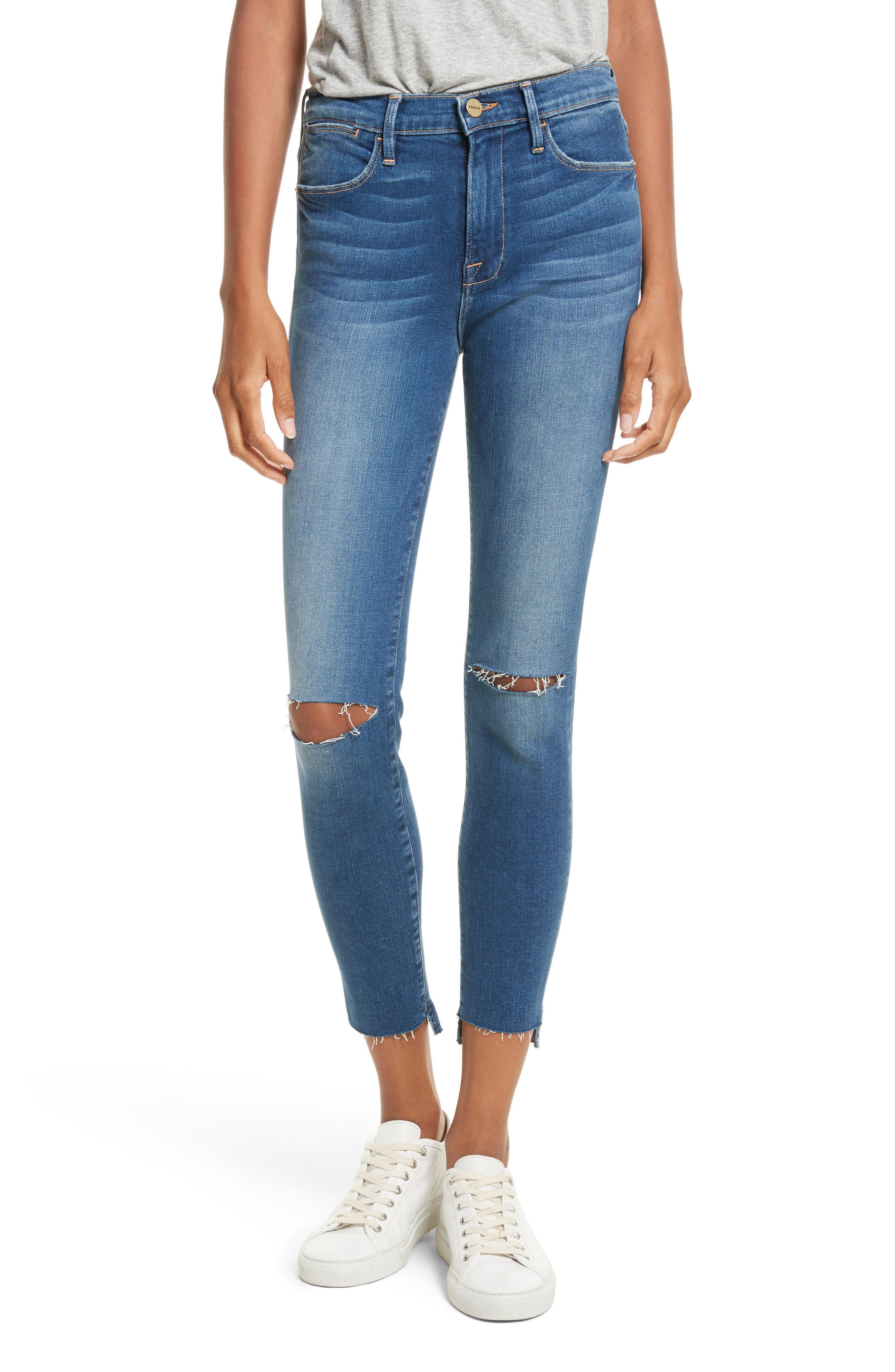 Le High High Waist Ankle Skinny Jeans,                         Main,                         color, Blue