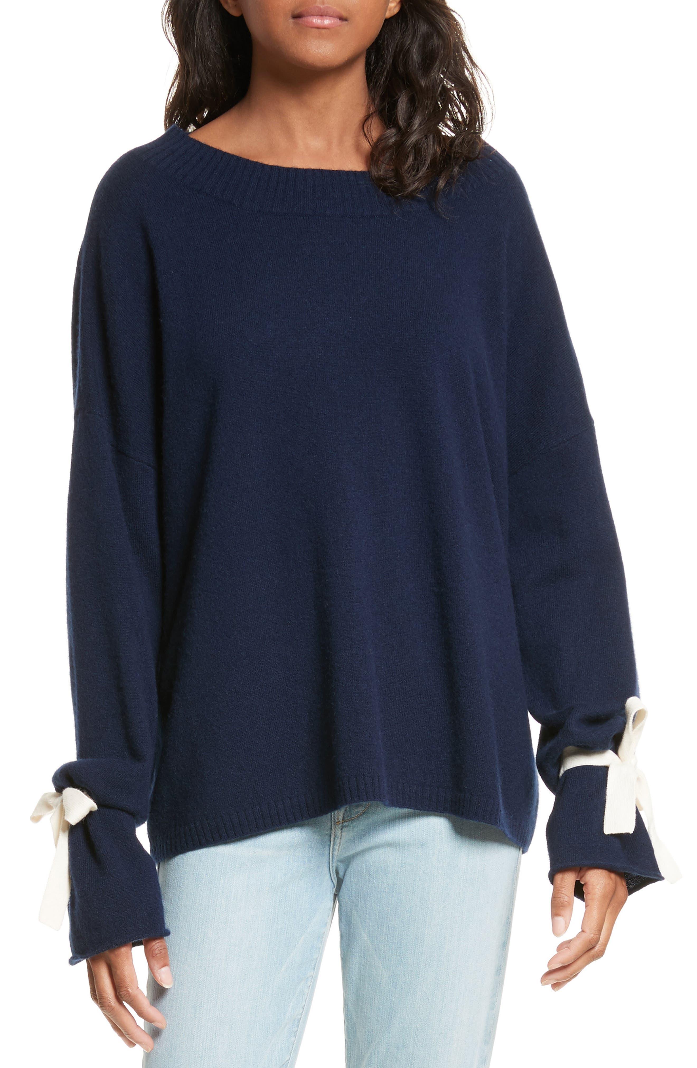 Tie Cuff Sweater,                         Main,                         color, Navy Multi