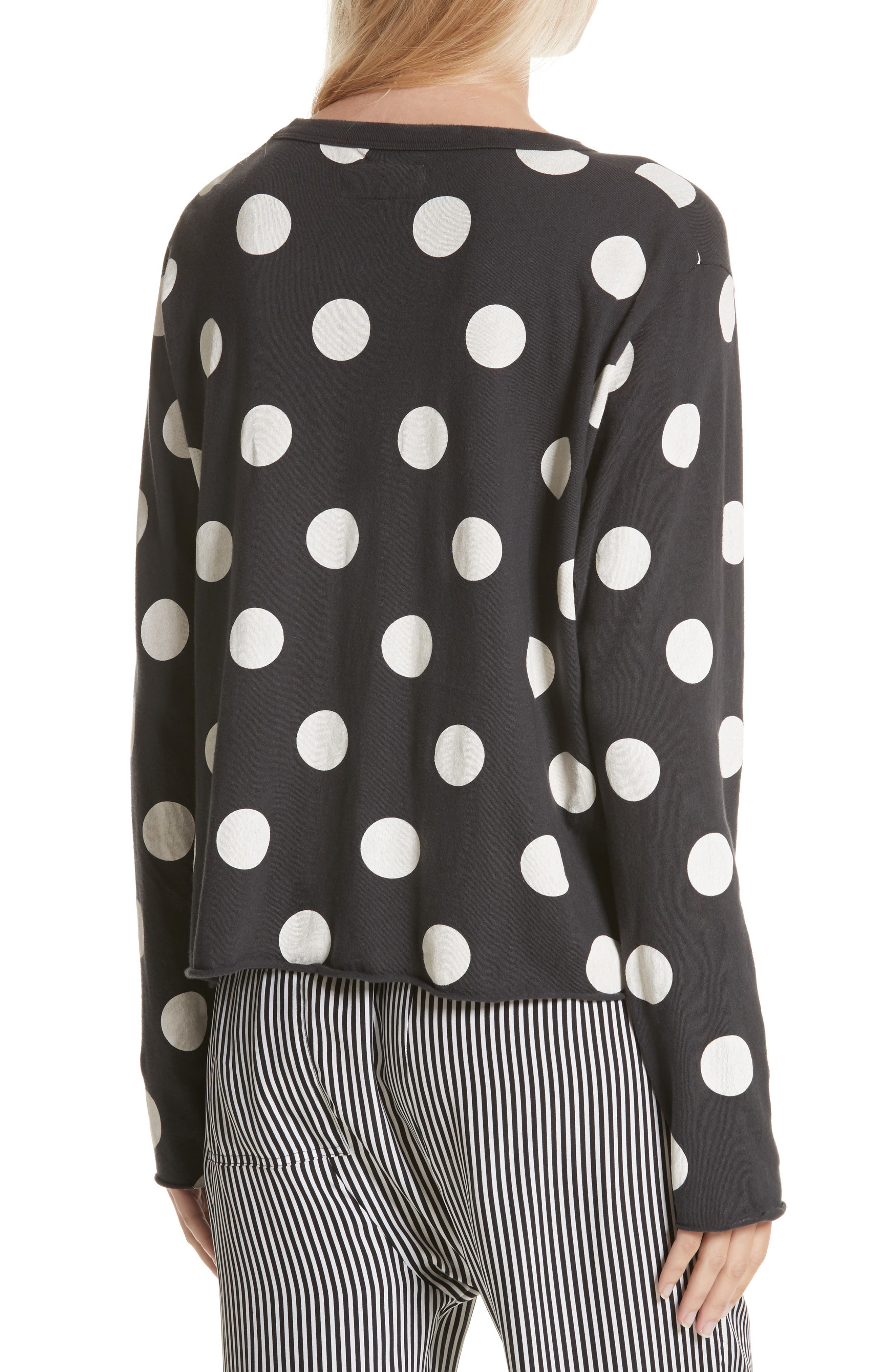 The Long Sleeve Crop Dot Print Tee,                             Alternate thumbnail 3, color,                             Washed Black White Dots
