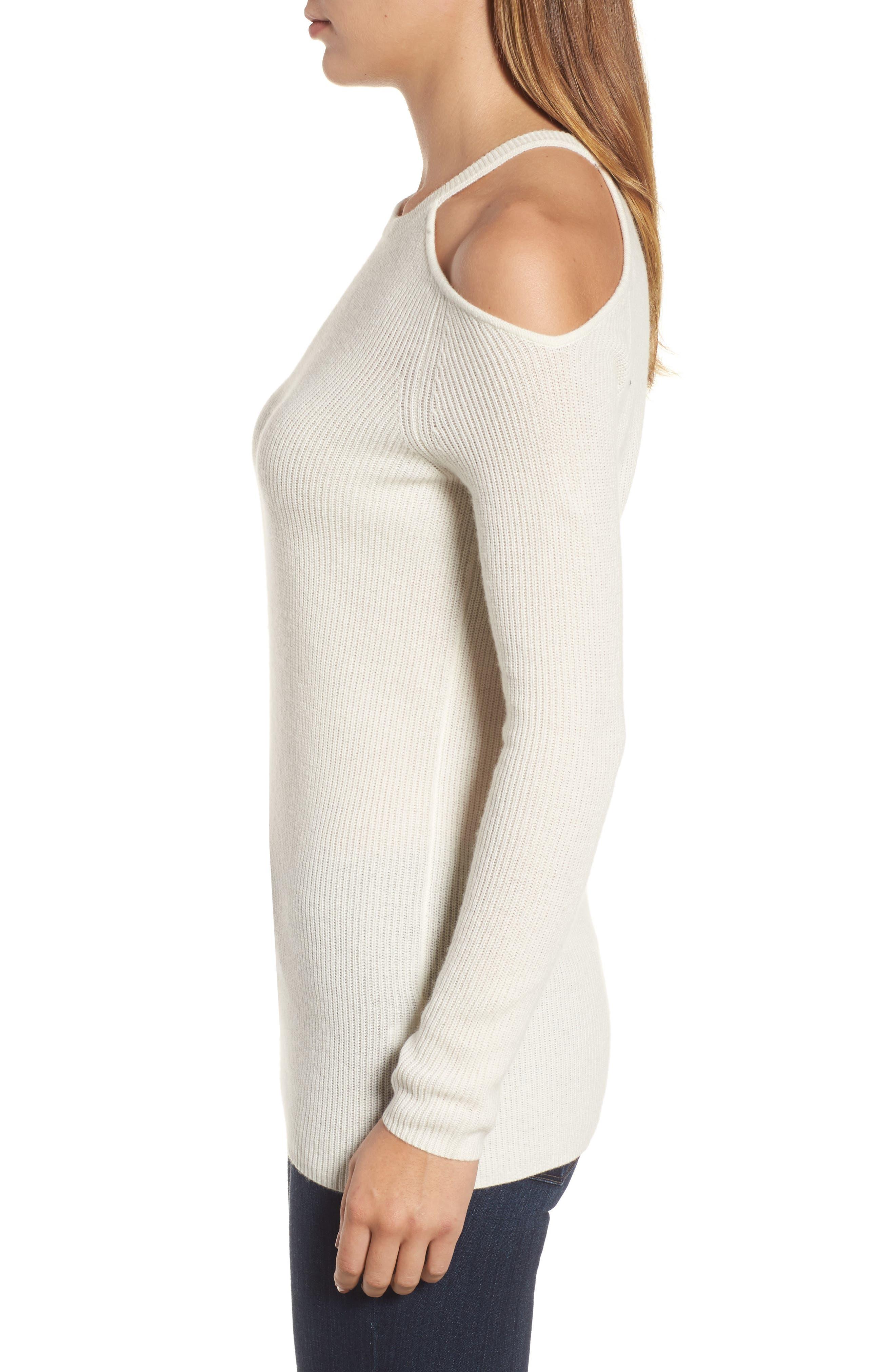 Cold Shoulder Cashmere Sweater,                             Alternate thumbnail 3, color,                             Milk