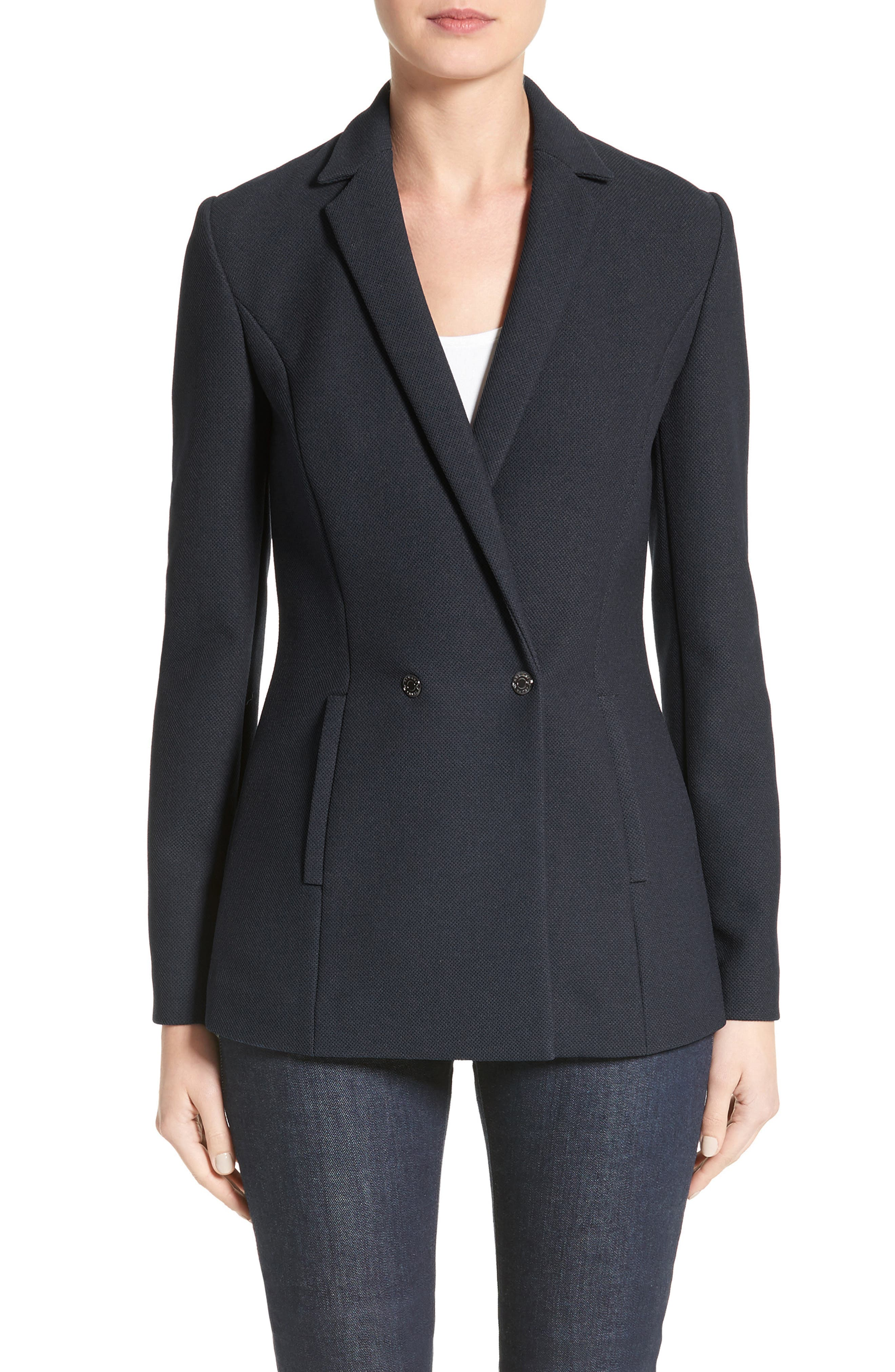 Armani Jeans Piqué Double Breasted Blazer,                             Main thumbnail 1, color,                             Navy
