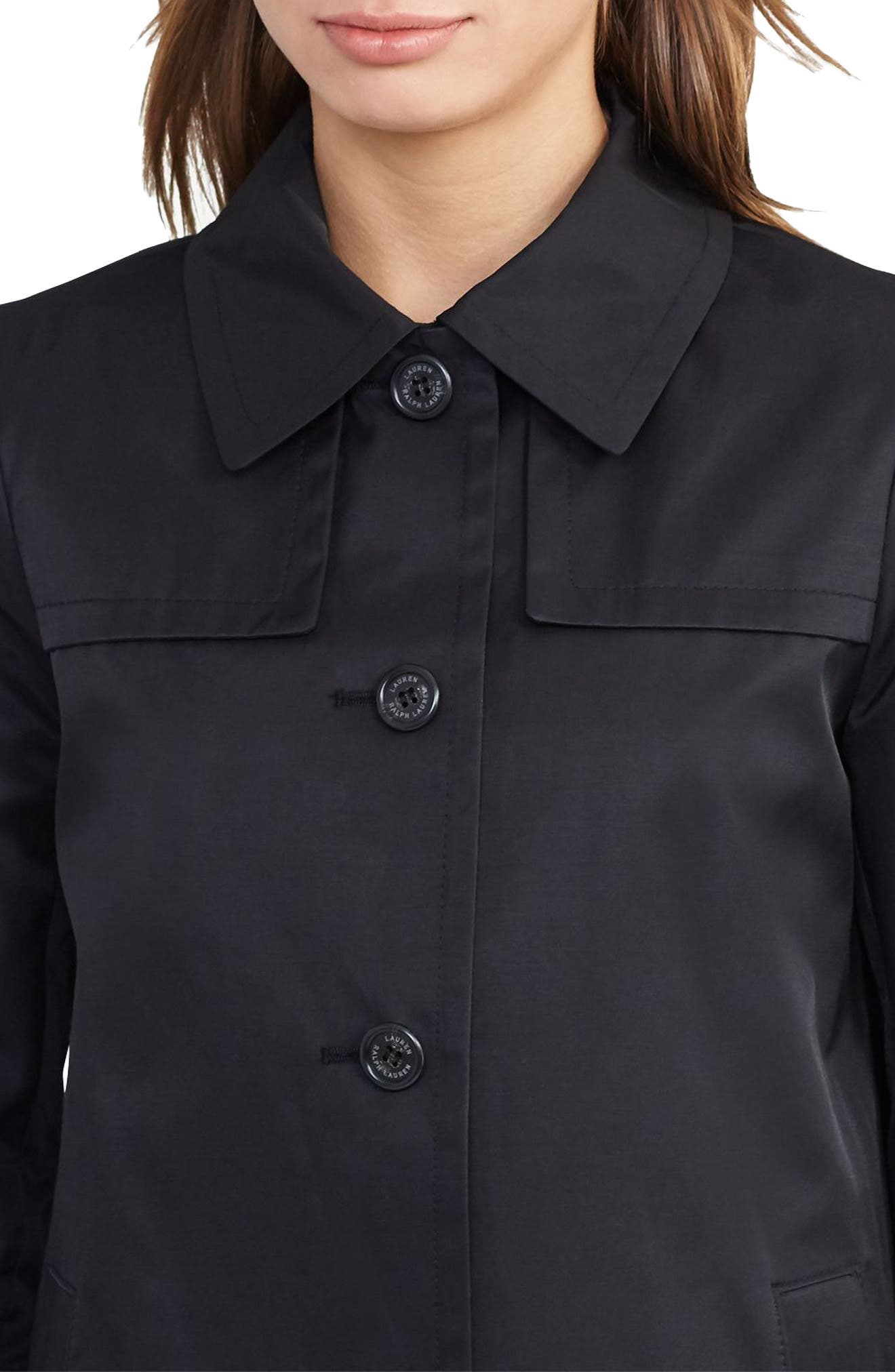 A-Line Trench Coat,                             Alternate thumbnail 4, color,                             Black