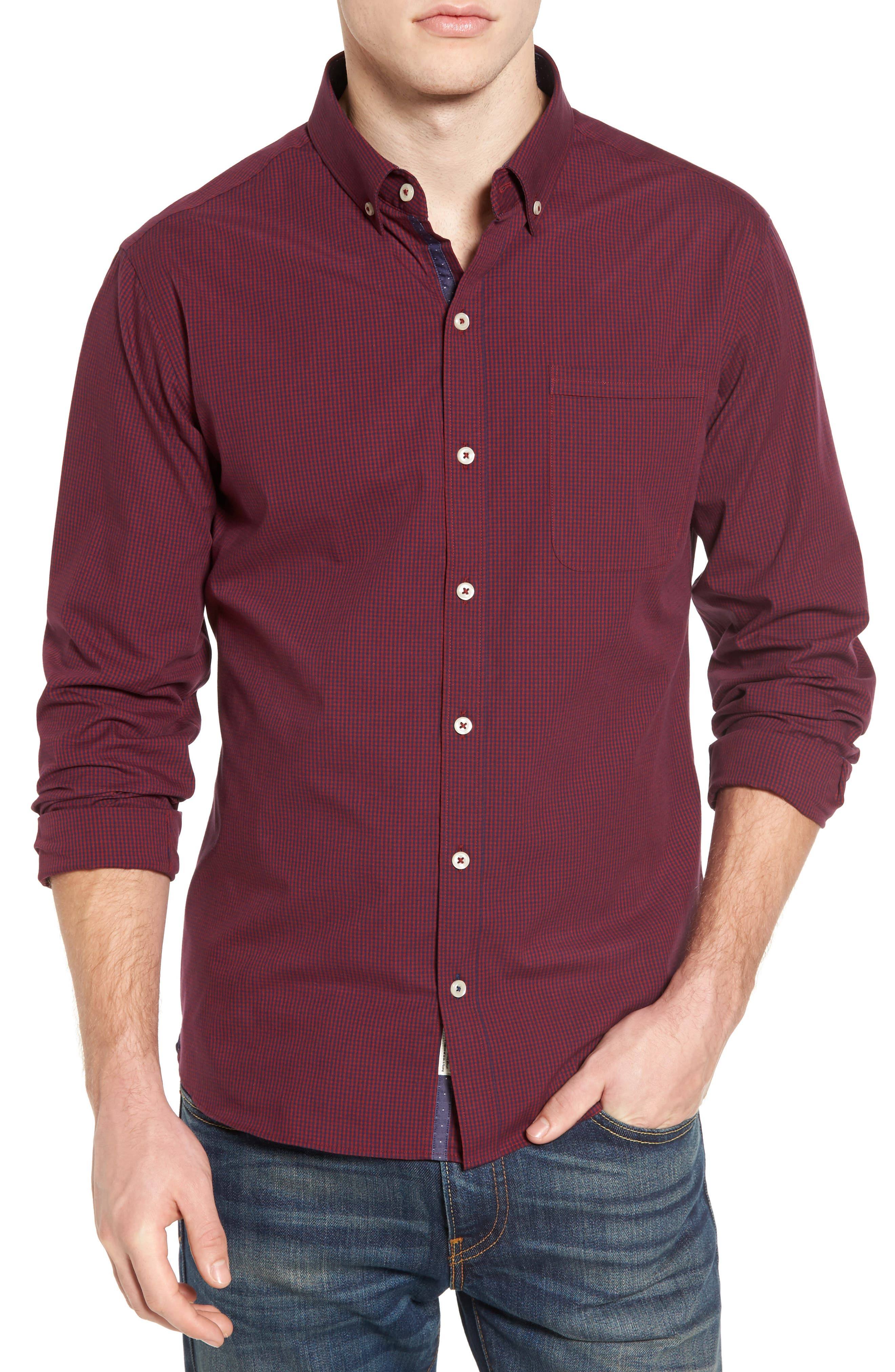 Oracle Woven Shirt,                         Main,                         color, Red