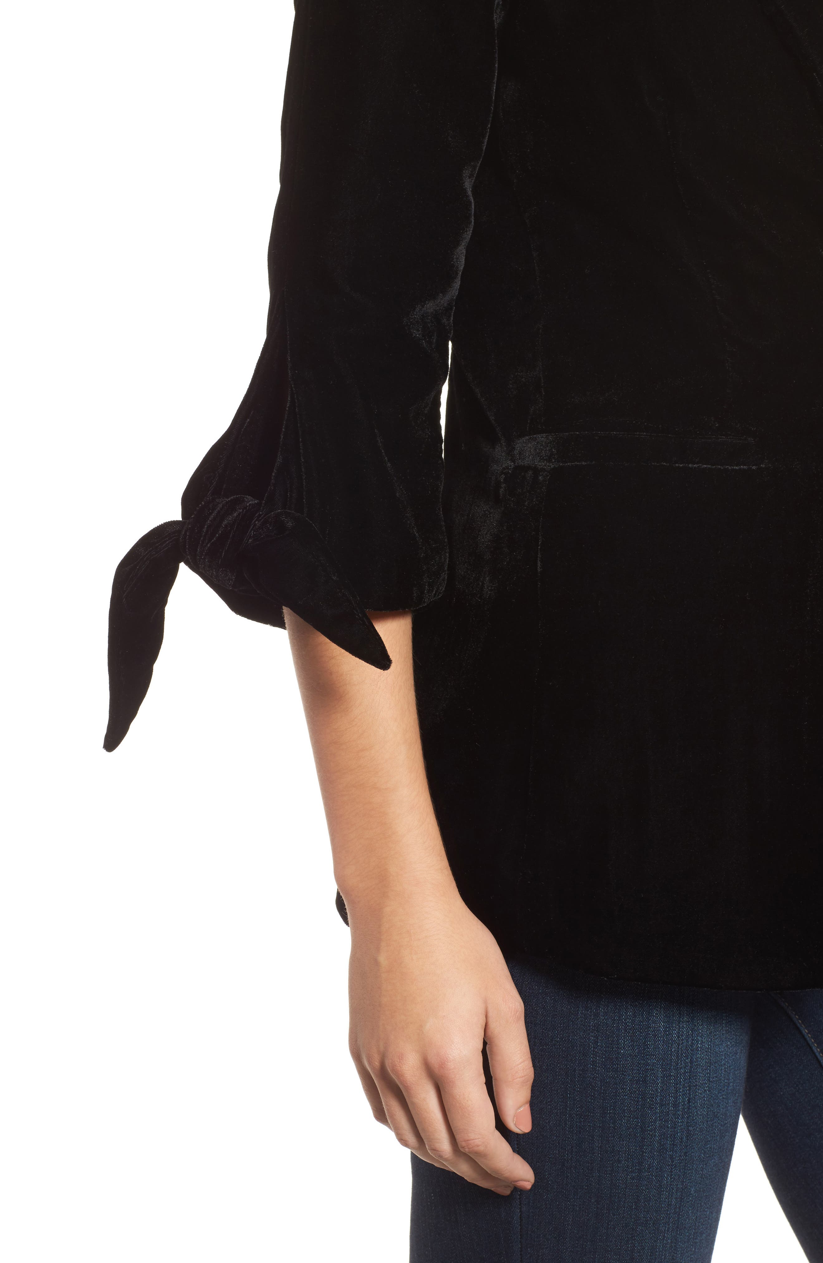 Tie Sleeve Velvet Blazer,                             Alternate thumbnail 5, color,                             Black