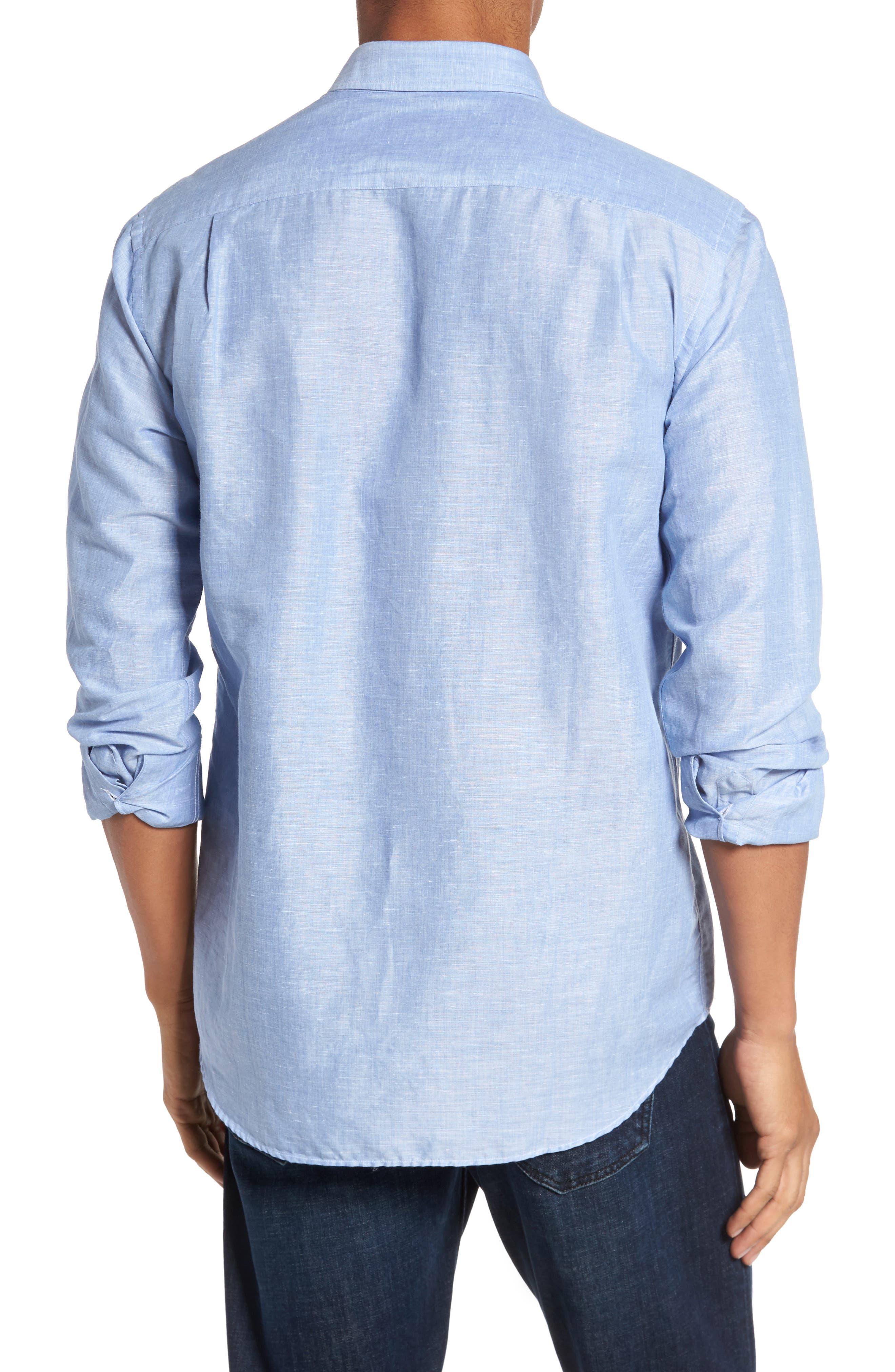 Linen & Cotton Sport Shirt,                             Alternate thumbnail 3, color,                             Blue Jean