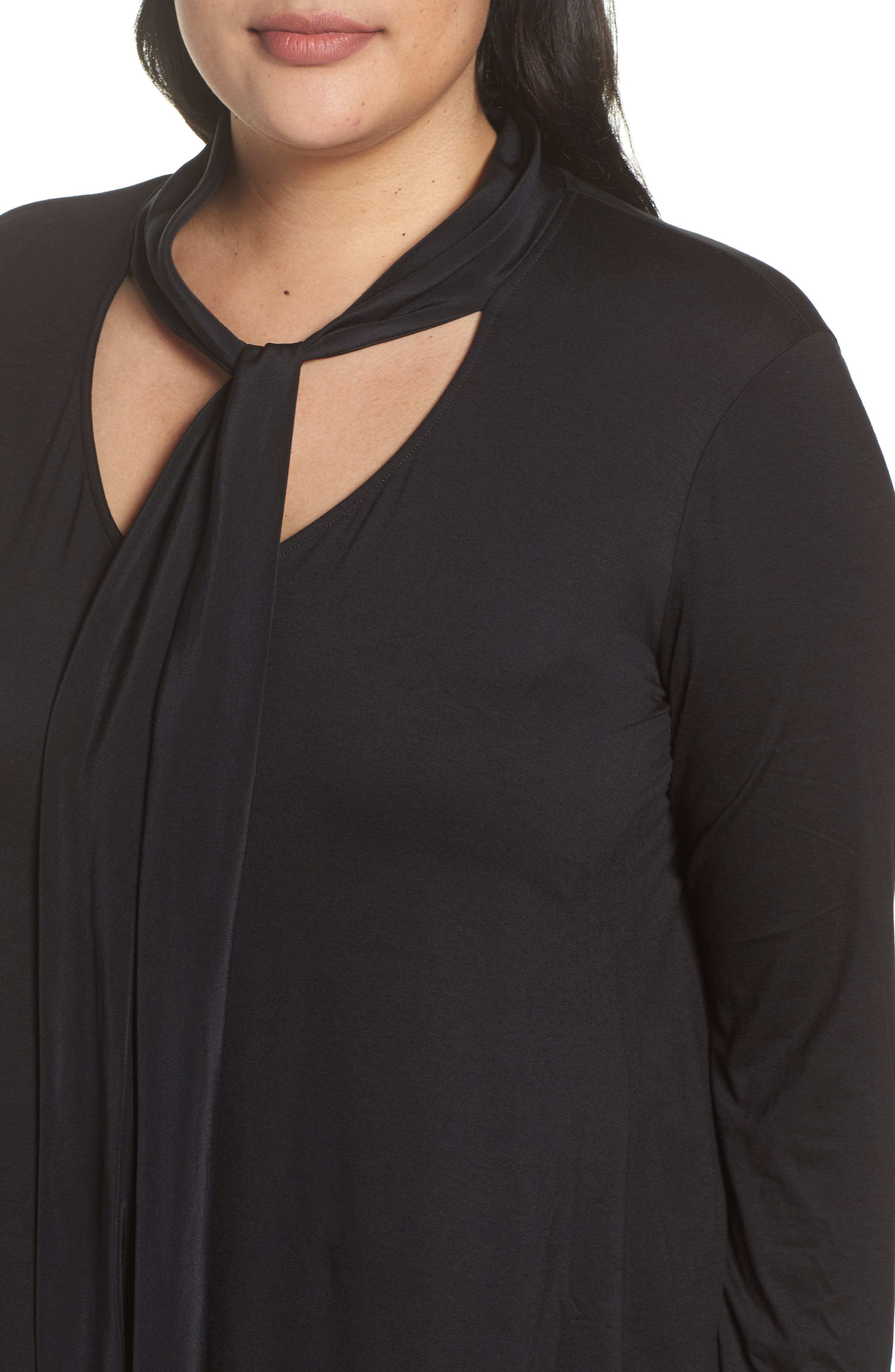 Alternate Image 4  - Three Dots Tie Neck Jersey Top (Plus Size)