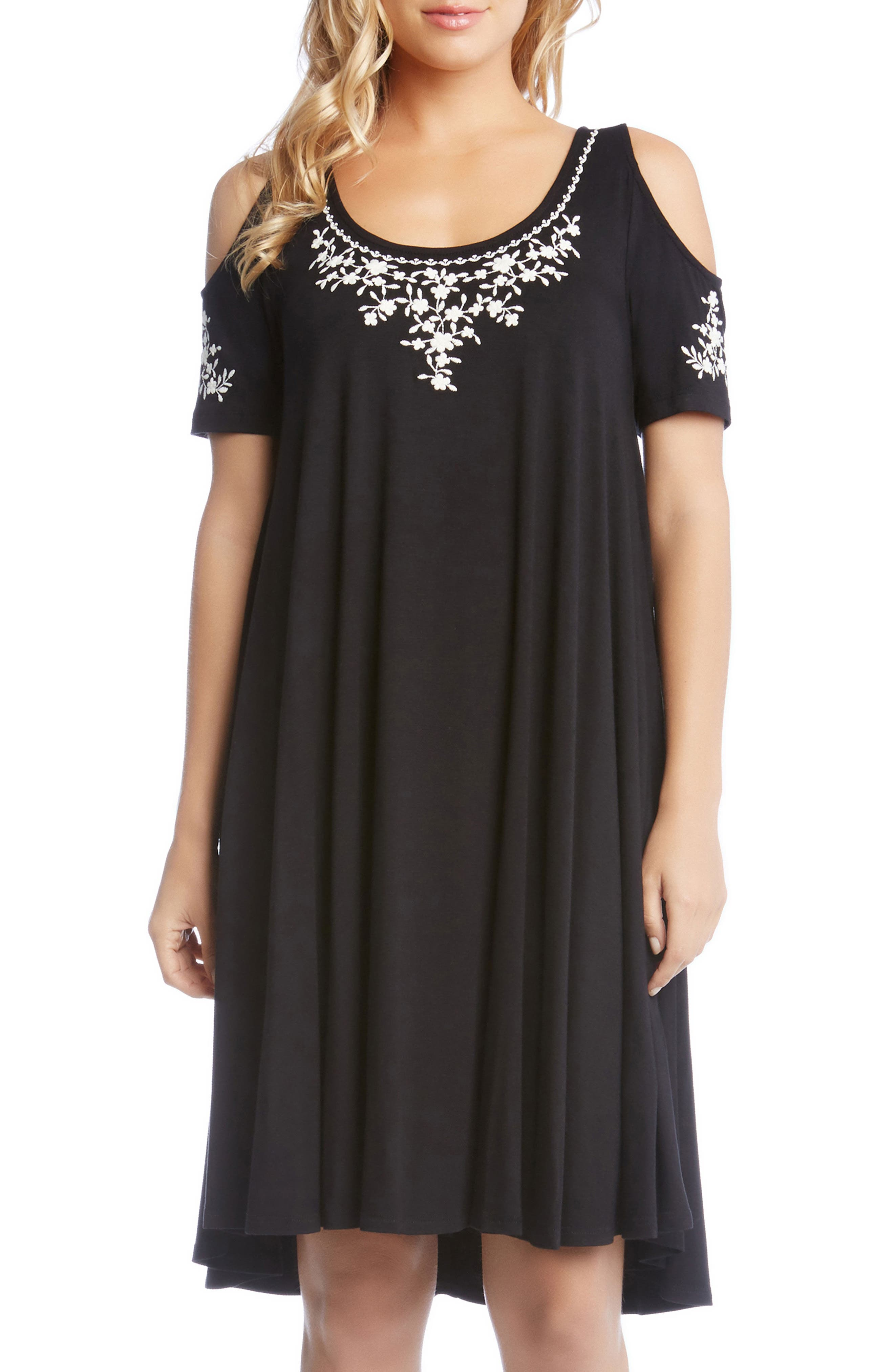 Cold Shoulder Embroidered Trapeze Dress,                         Main,                         color, Black W/ Cream