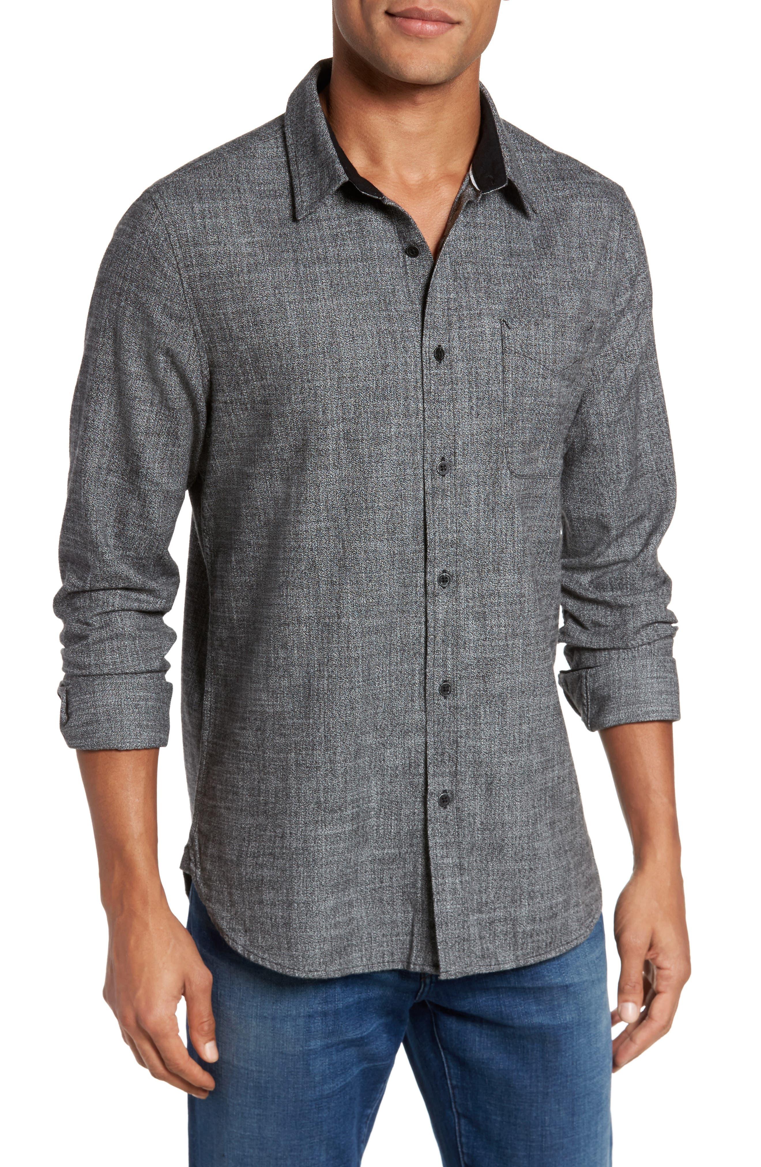 Colton Slim Fit Sport Shirt,                         Main,                         color, Black/ White
