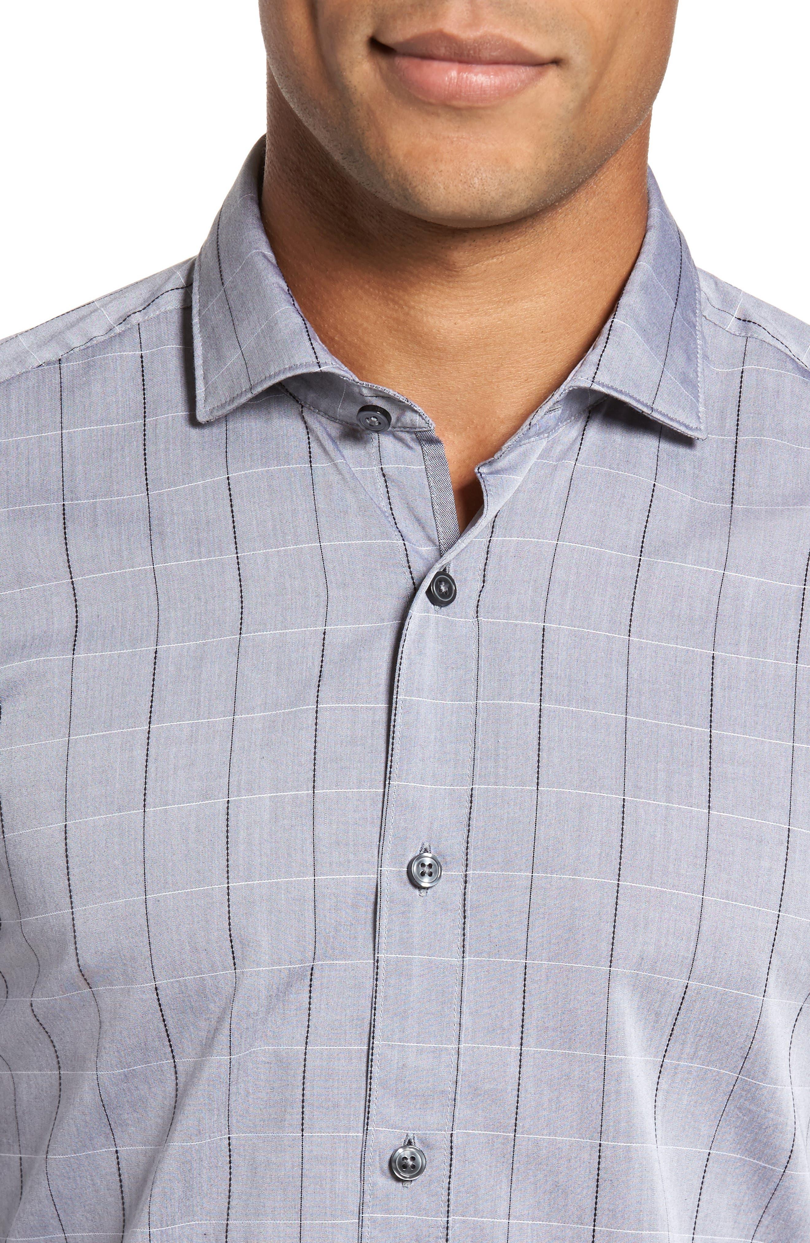 Ridley Slim Fit Dobby Check Sport Shirt,                             Alternate thumbnail 4, color,                             Grey