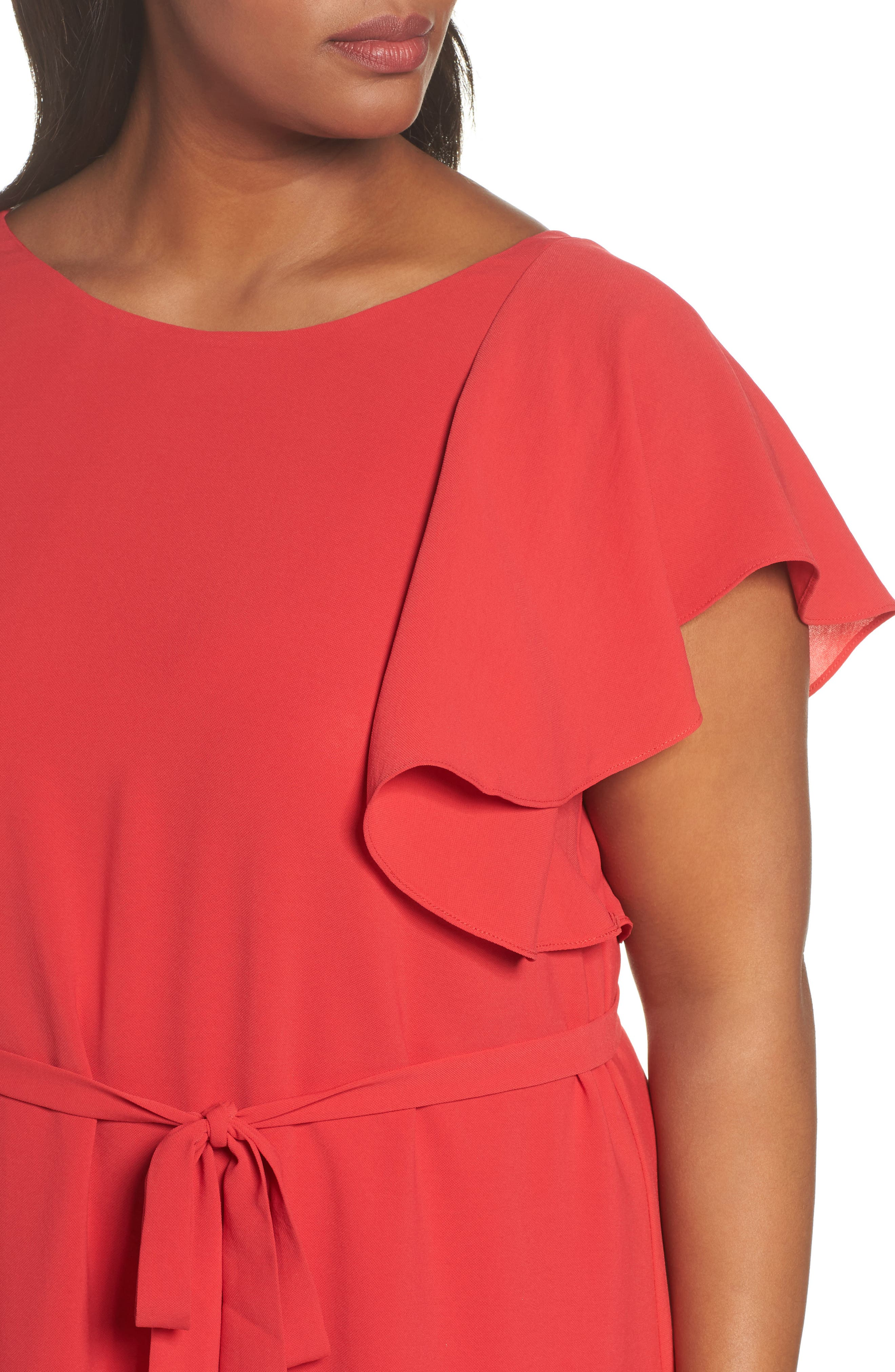 Crepe Flutter Sleeve Dress,                             Alternate thumbnail 4, color,                             Red Fire