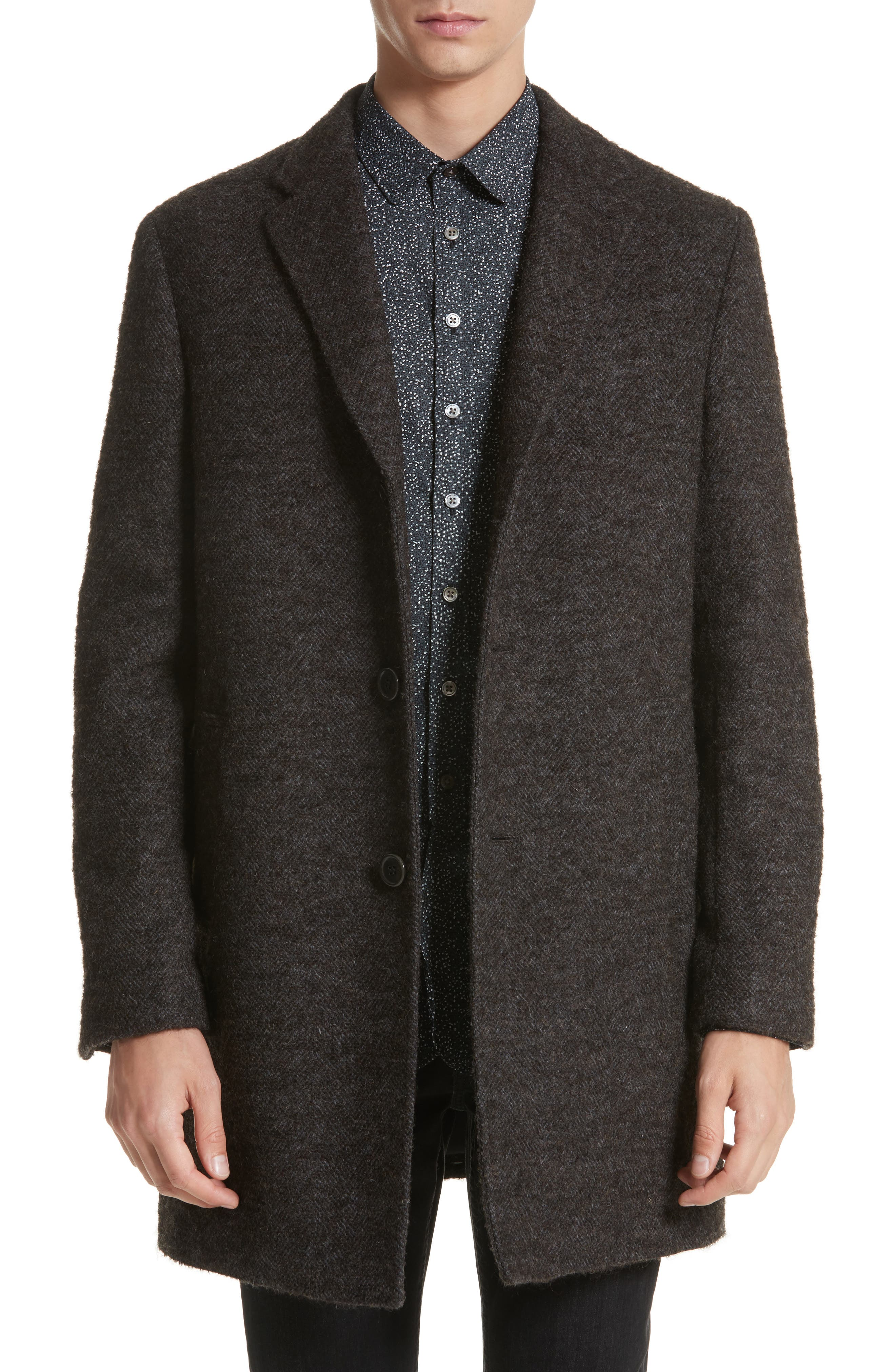 Walsh Wool Blend Topcoat,                             Main thumbnail 1, color,                             Brown/ White
