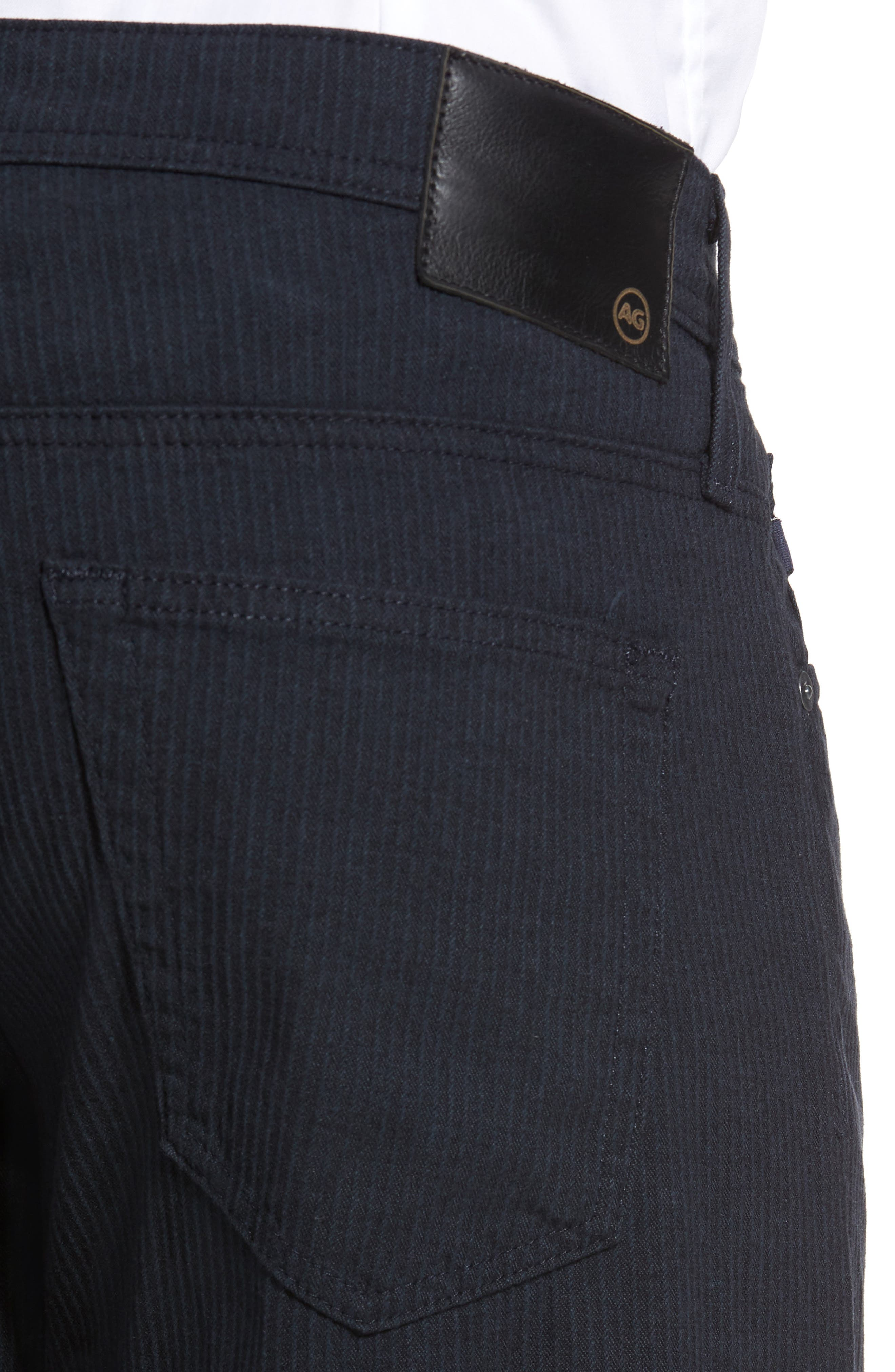 Tellis Modern Slim Stripe Five-Pocket Pants,                             Alternate thumbnail 4, color,                             Midnight Shadow
