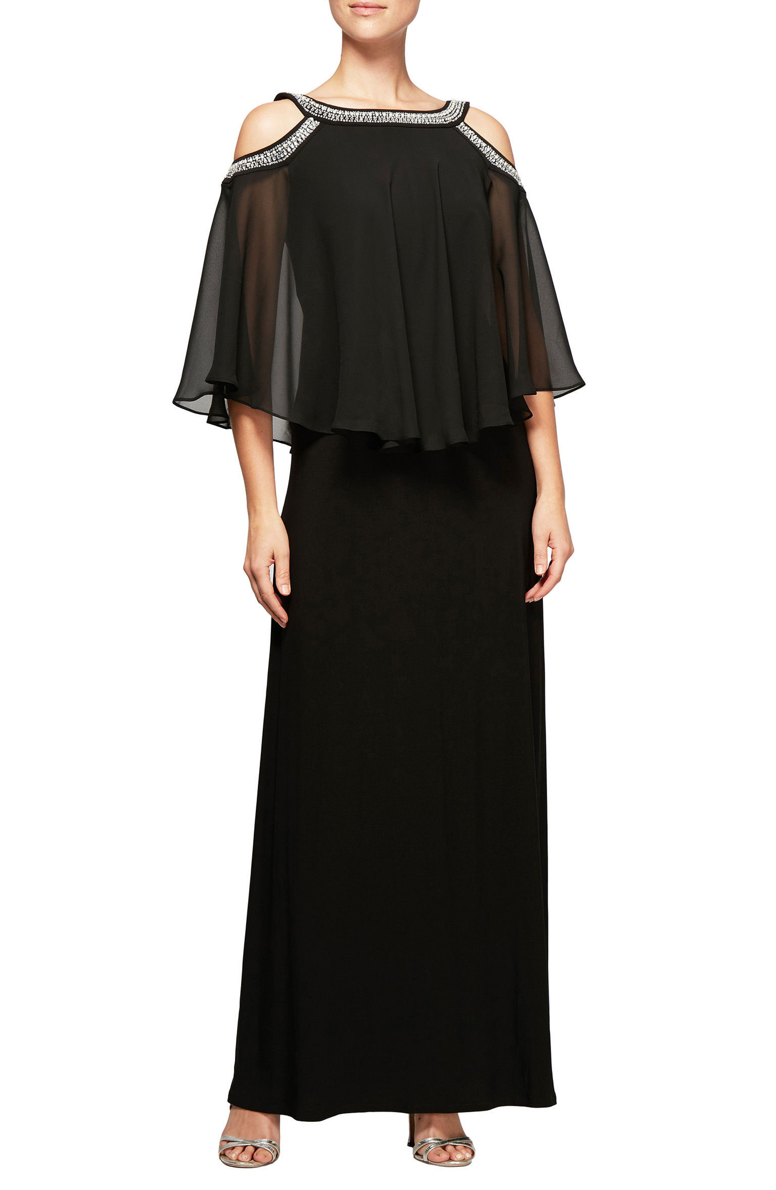 Alex Evenings Cold Shoulder Popover Dress