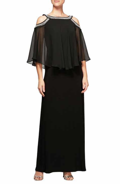 Alex Evenings Cold Shoulder Popover Dress