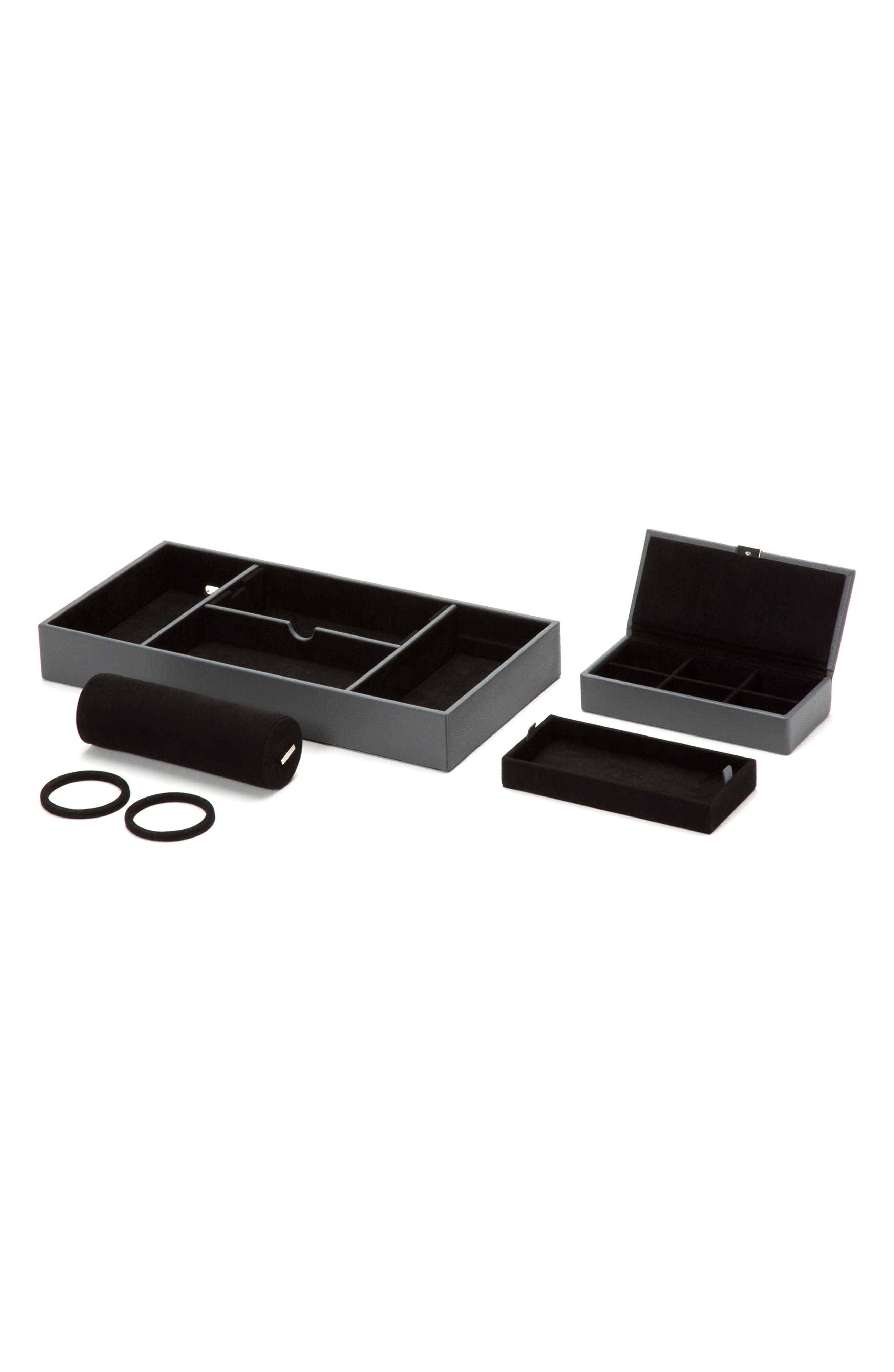 Howard Valet Jewelry Tray with Tie Roll,                             Alternate thumbnail 3, color,                             Grey