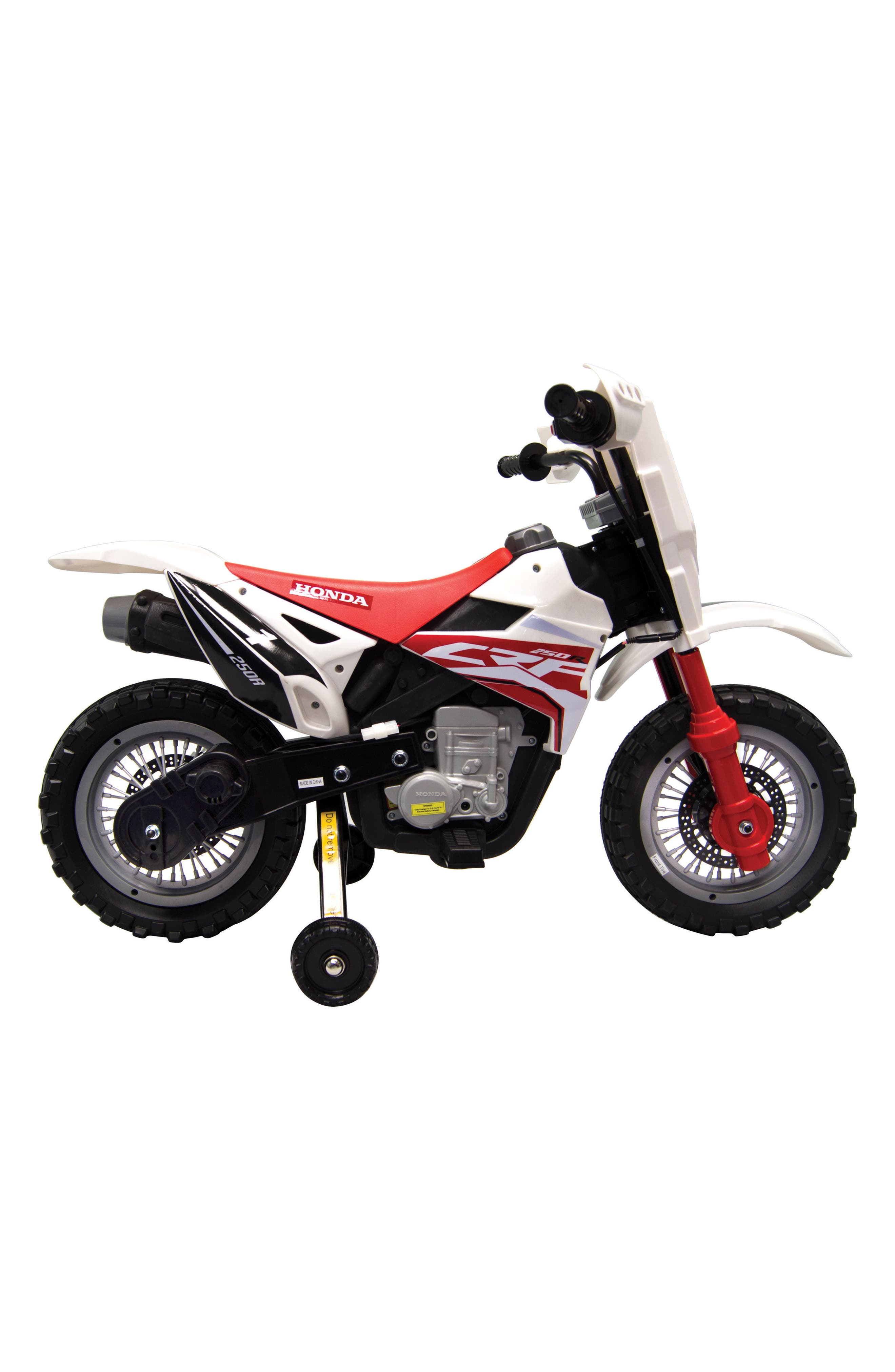 Honda Dirt Bike Ride-On Toy Motorcycle,                             Alternate thumbnail 3, color,                             White