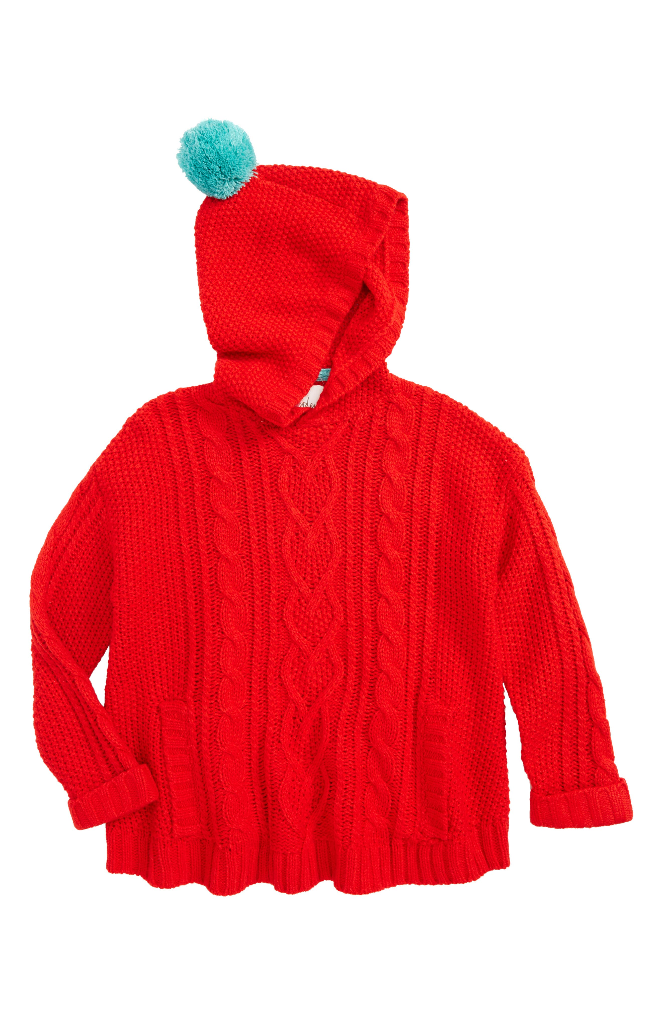 Mini Boden Cable Knit Hooded Sweater (Toddler Girls, Little Girls & Big Girls)