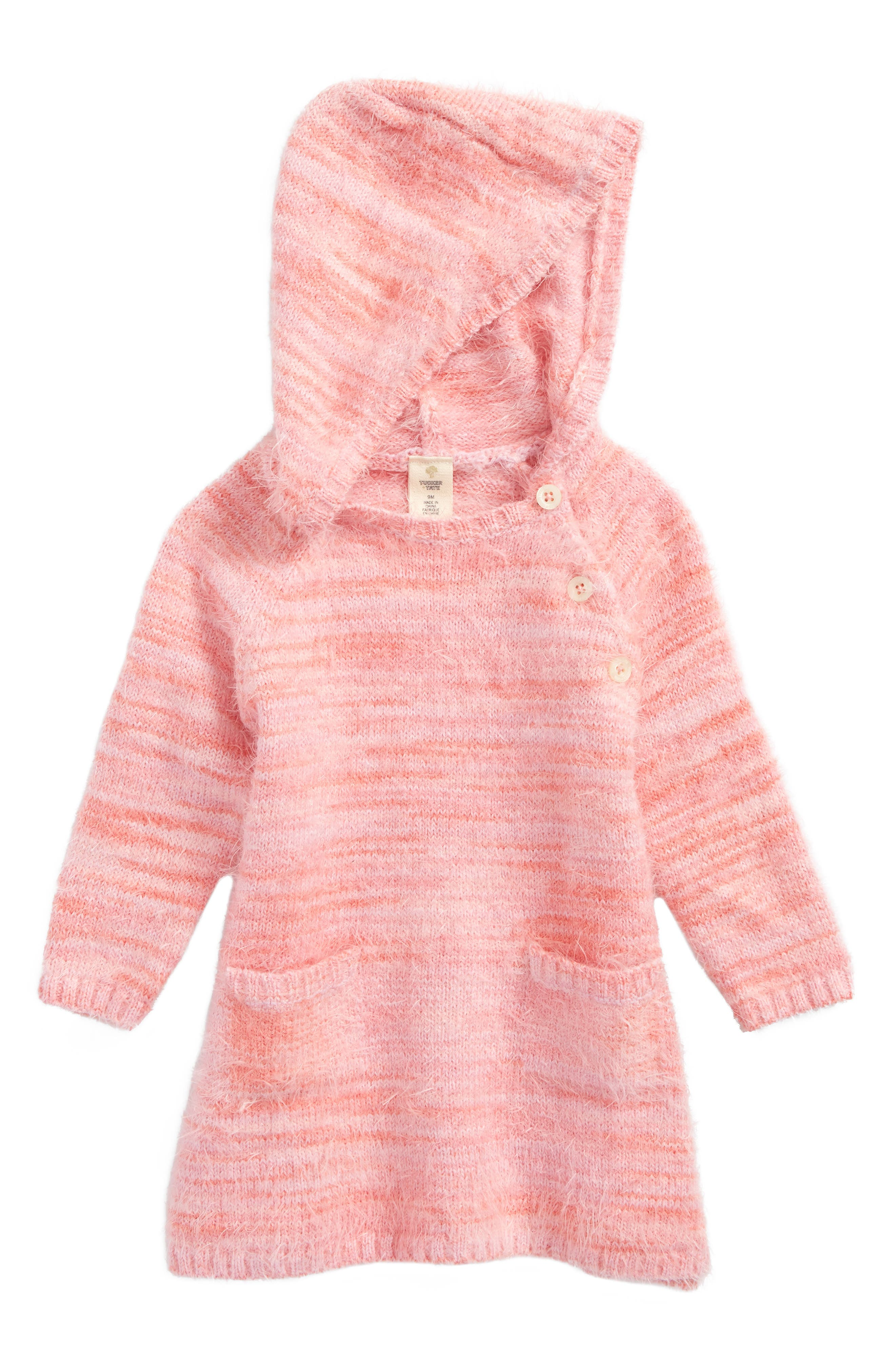 Tucker + Tate Fuzzy Hooded Sweater Dress (Baby Girls)