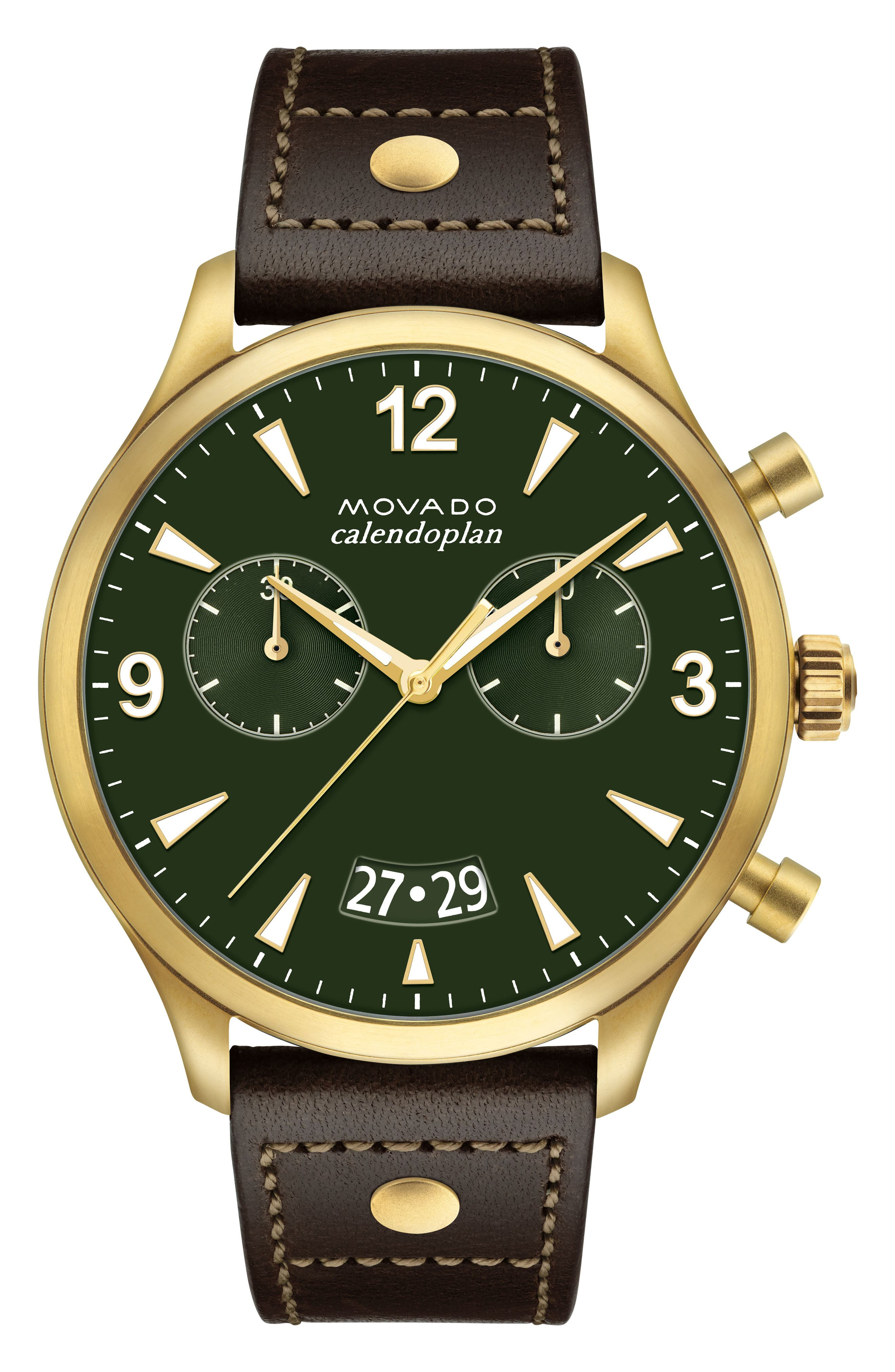 Heritage Calendoplan Chronograph Leather Strap Watch, 45mm,                         Main,                         color, Chocolate/ Green/ Gold