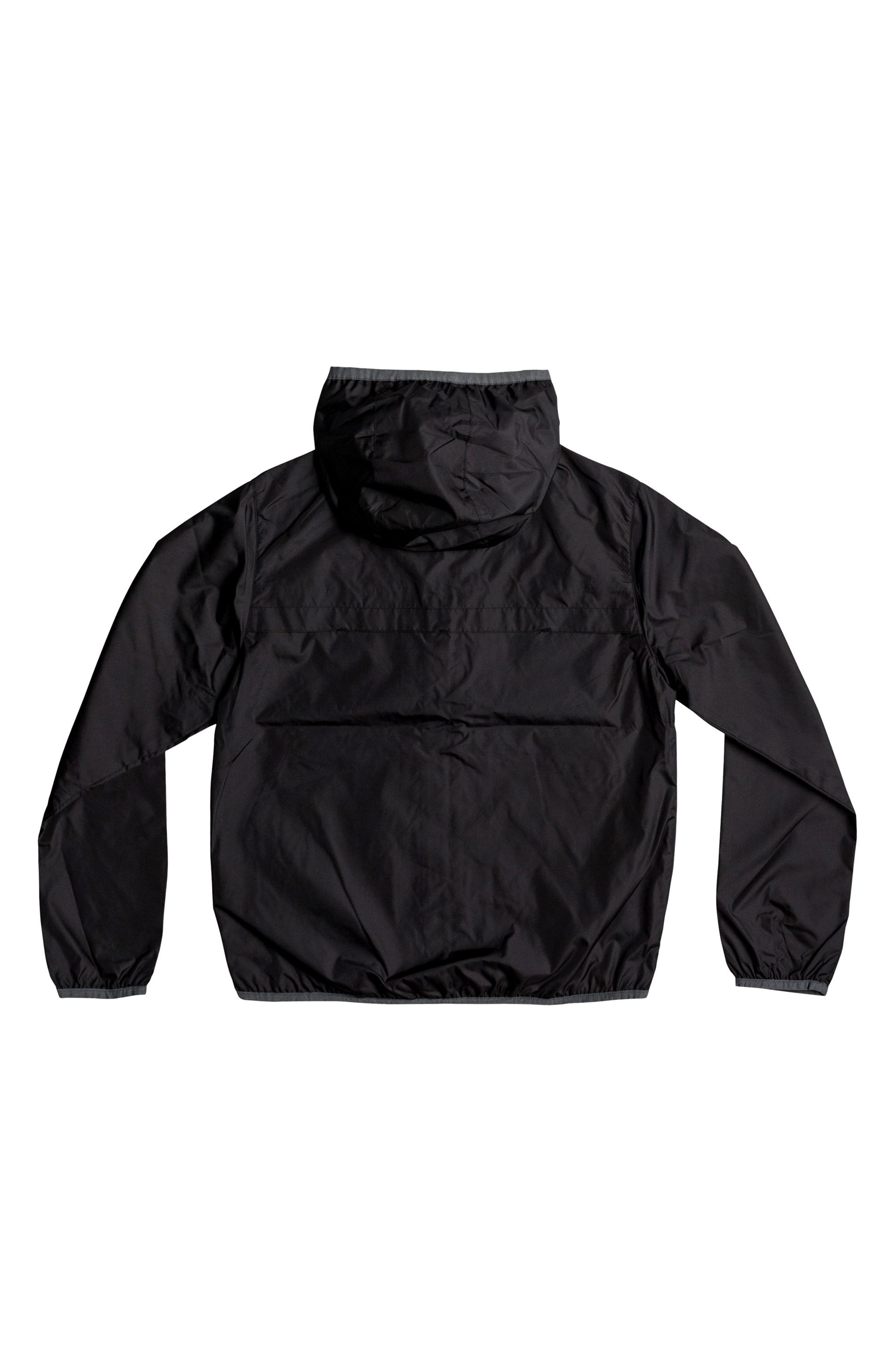Contrasted Water Resistant Hooded Windbreaker,                             Alternate thumbnail 2, color,                             Black